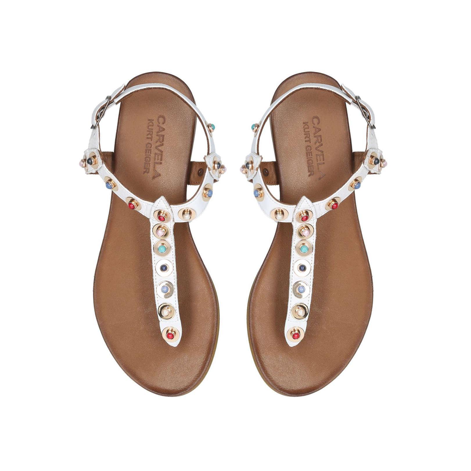 11597aebf74a77 Carvela Kurt Geiger - White  kankan  Flat Sandals - Lyst. View fullscreen