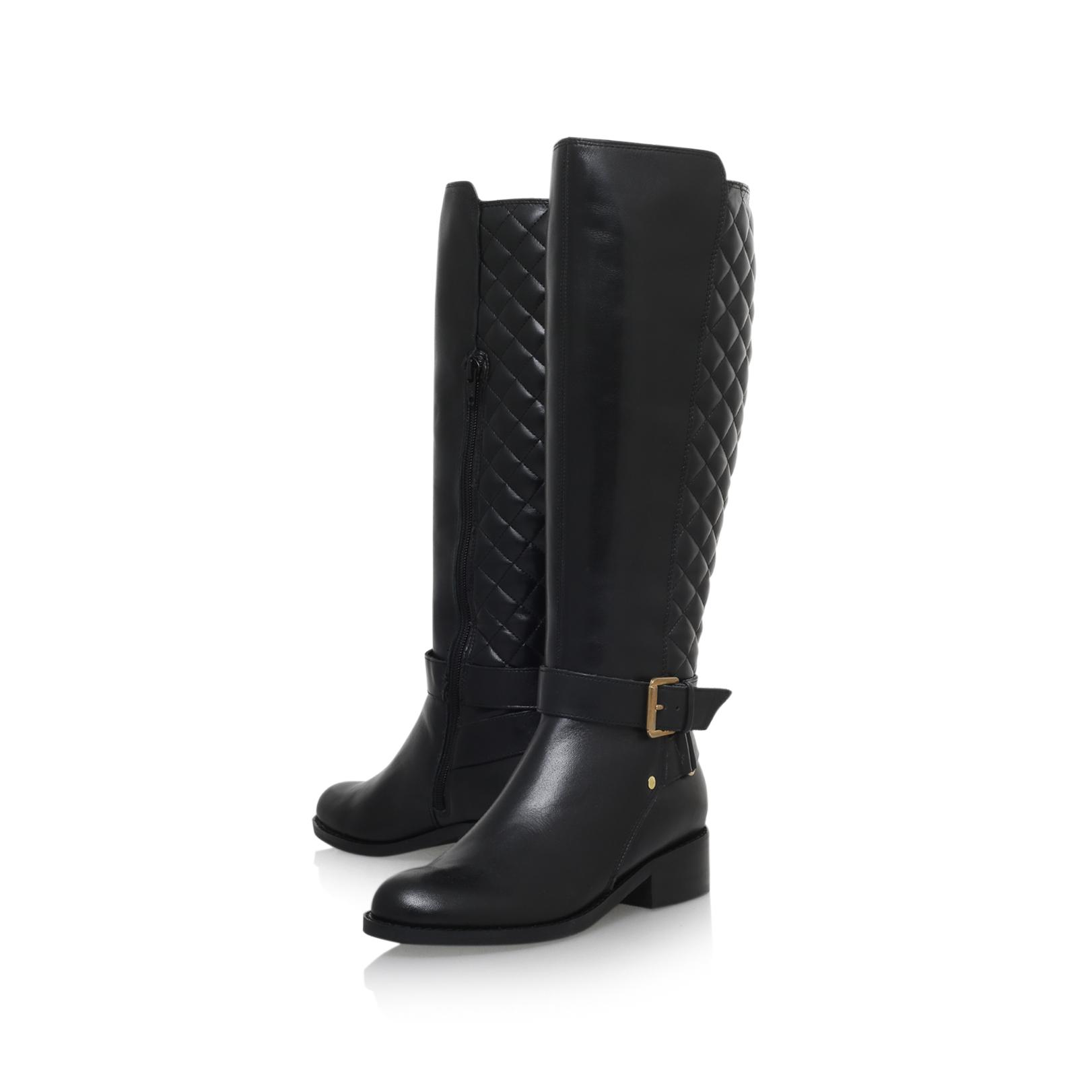 carvela kurt geiger polished flat knee boots in black lyst