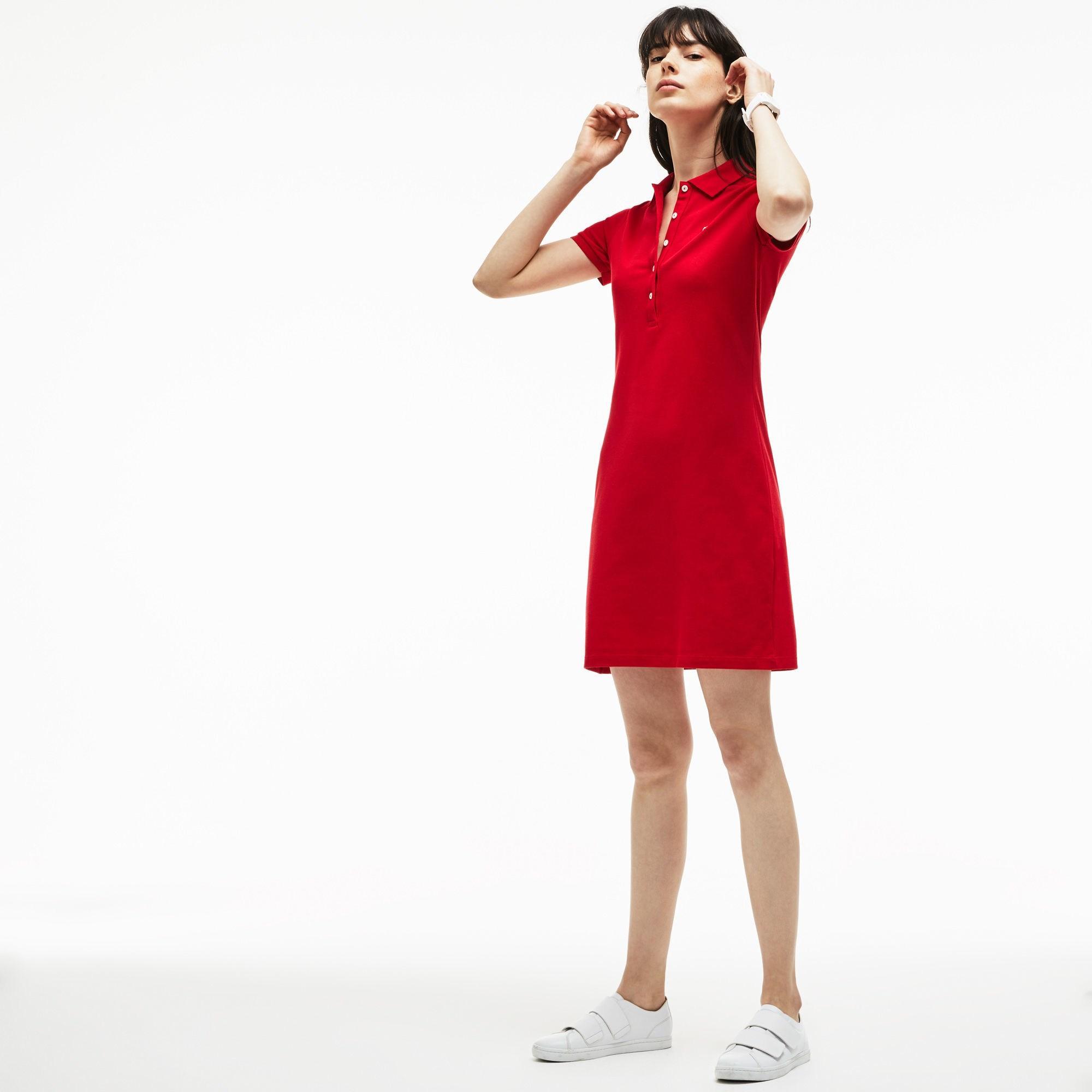df38fcf48 Lacoste - Red Stretch Cotton Mini Piqué Polo Dress - Lyst. View fullscreen