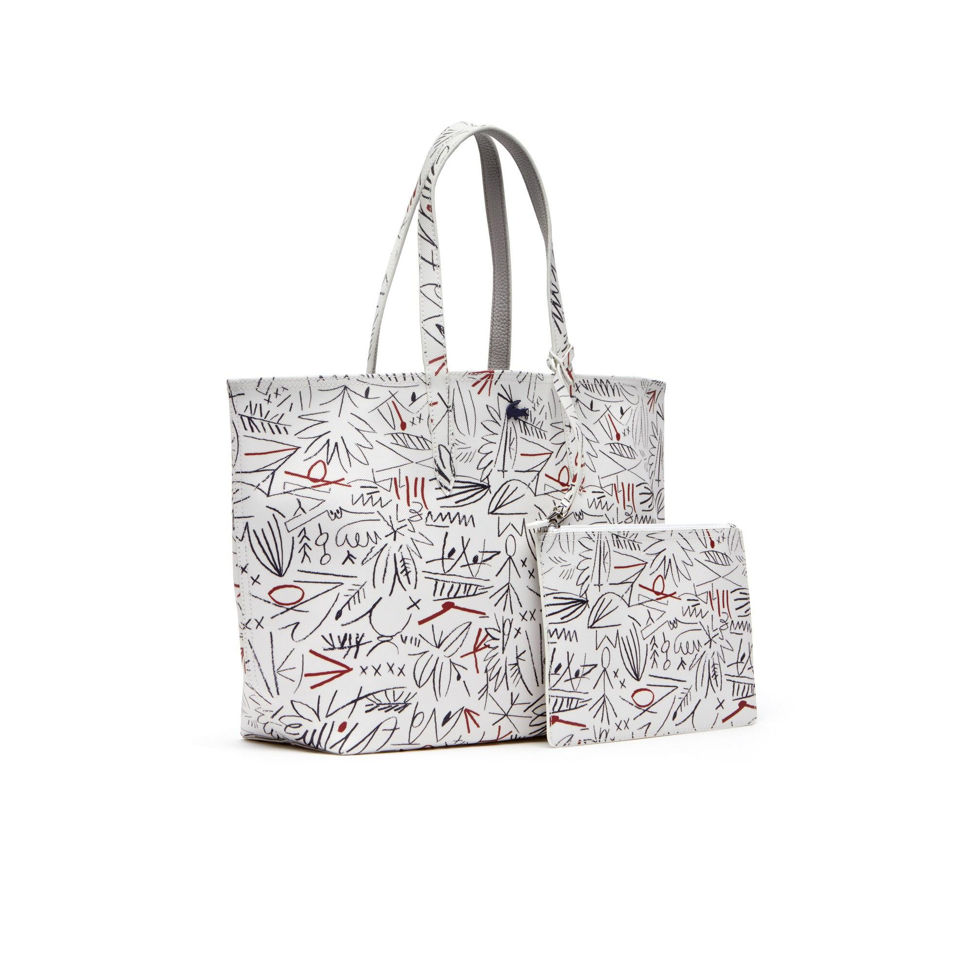 75fa198bf5 Lyst In Lacoste White Egyptian Bicolor Reversible Tote Bag Anna Print  DH9W2IE