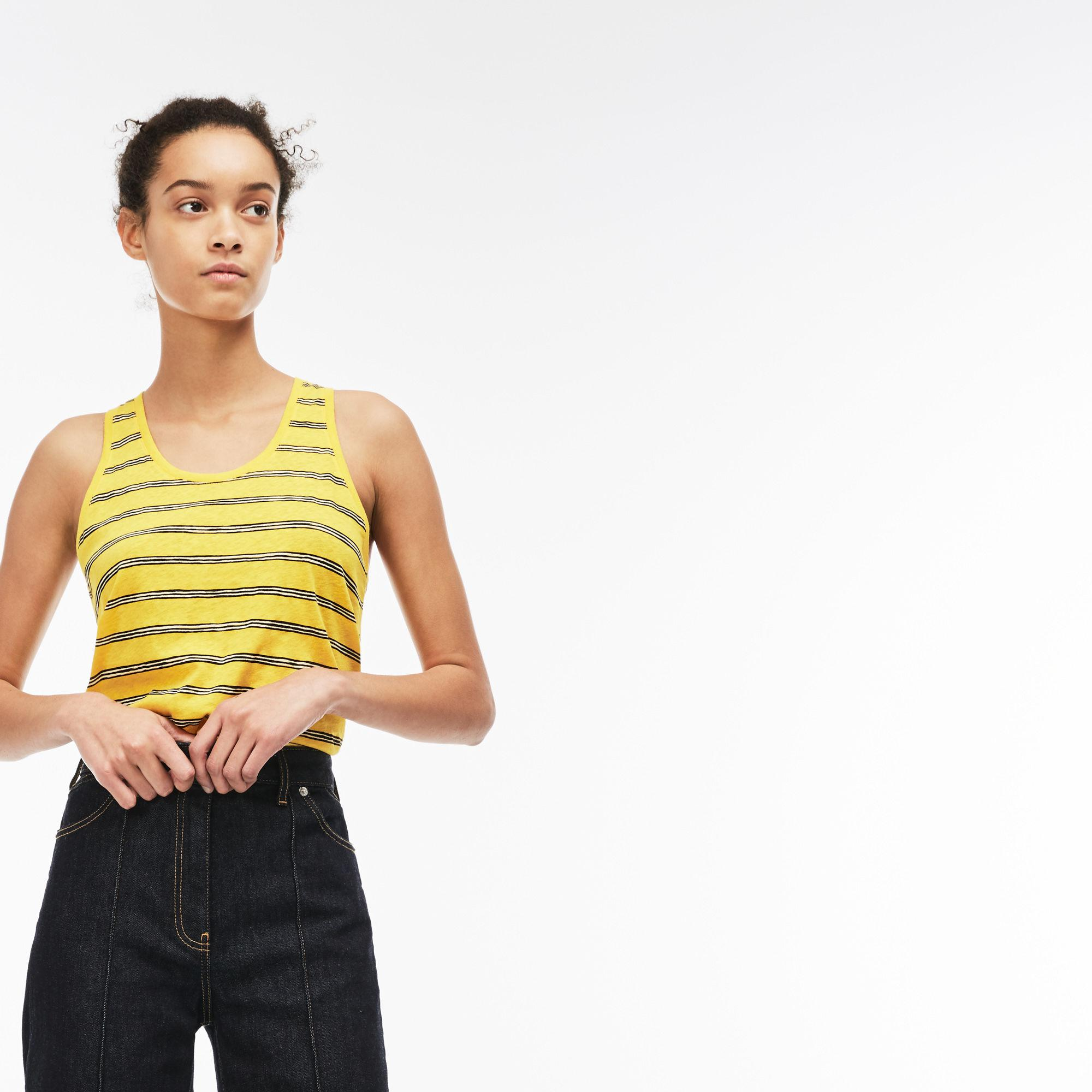 4d81303c98 Lyst - Lacoste Cotton And Linen Tank Top in Yellow