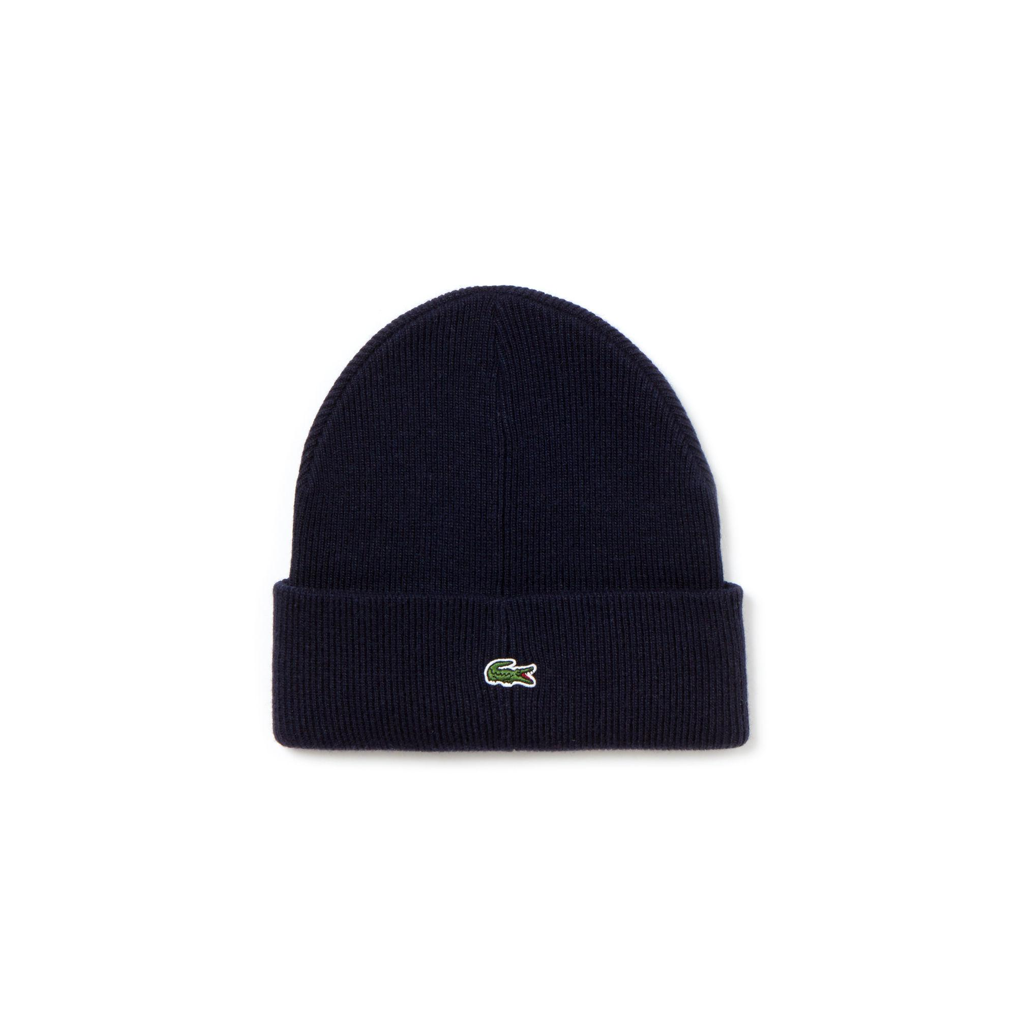 af507e1a3573a Lyst - Lacoste Unisex Live Turned Edge Ribbed Wool Beanie in Blue ...
