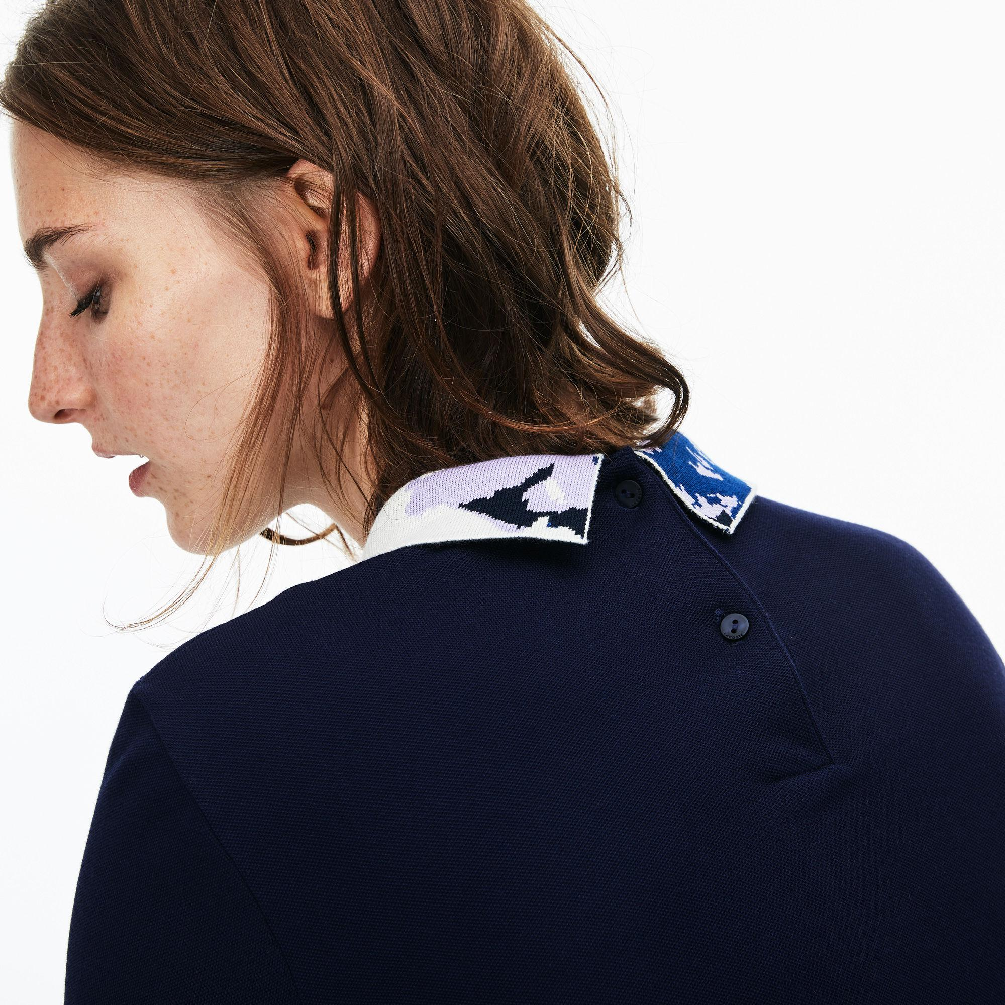 Blue Lyst Polo Jacquard Stretch Collar Piqué Lacoste In Mini Yby76vfg