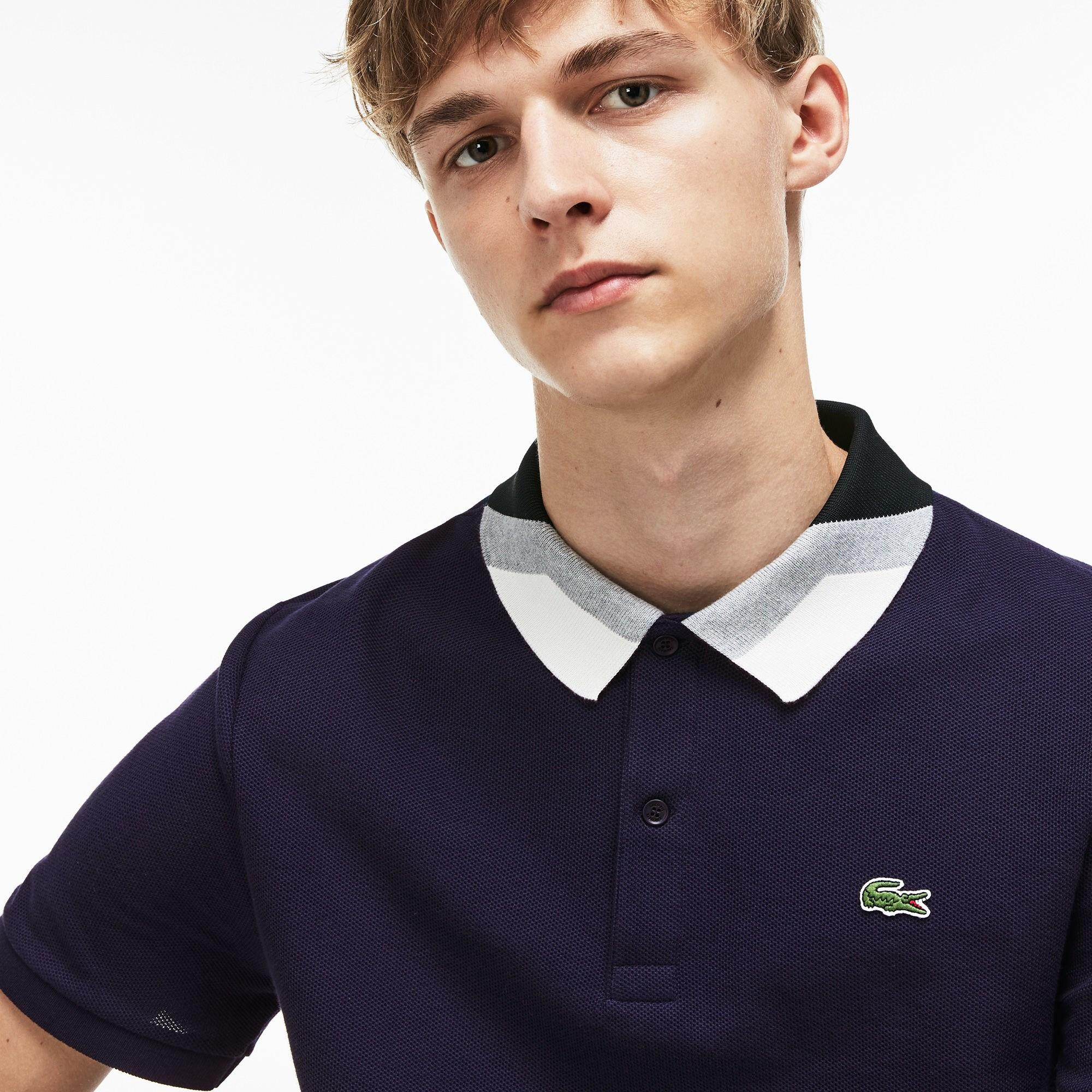 796d894a3e Lyst - Lacoste Slim Fit Colourblock Striped Knop Piqué Polo Shirt in ...