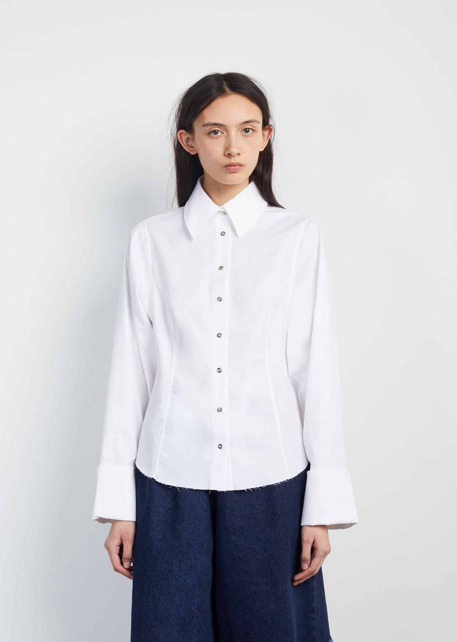 Outlet Real Embellished Frayed Cotton-twill Shirt - White Marques Almeida Buy Cheap Explore 100% Original Sale Pre Order 7BFkvG8jn