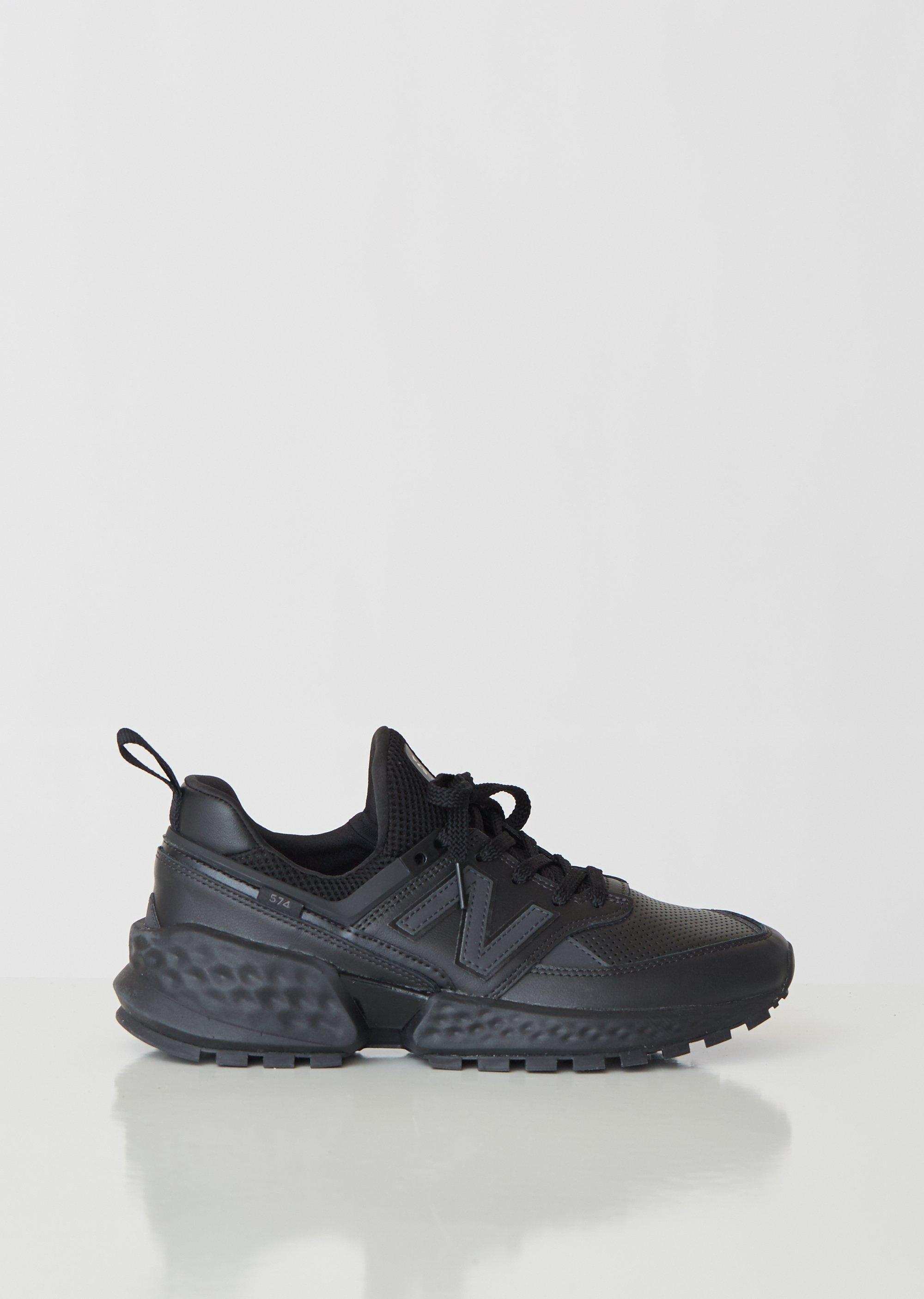 New Balance 574 Sport Leather Sneakers in Black for Men Lyst