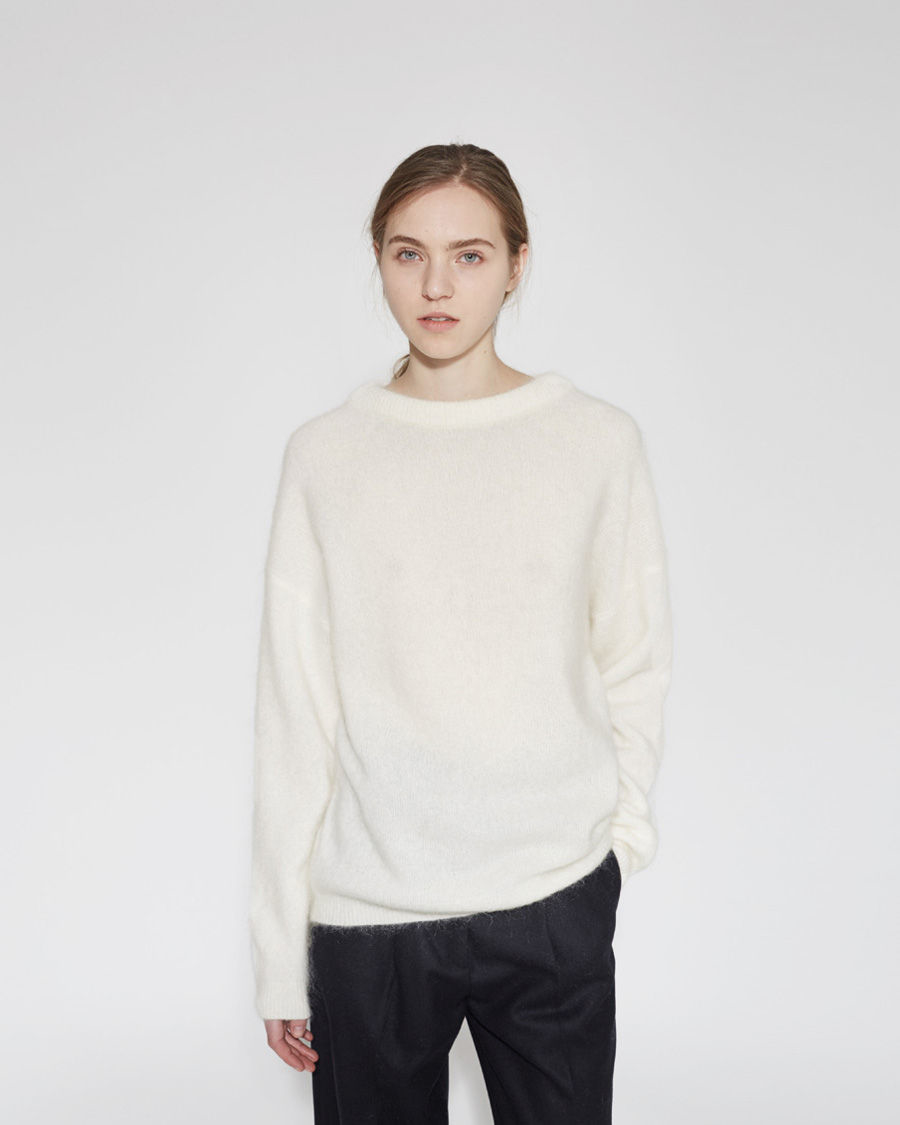 acne studios dramatic mohair pullover in white lyst. Black Bedroom Furniture Sets. Home Design Ideas