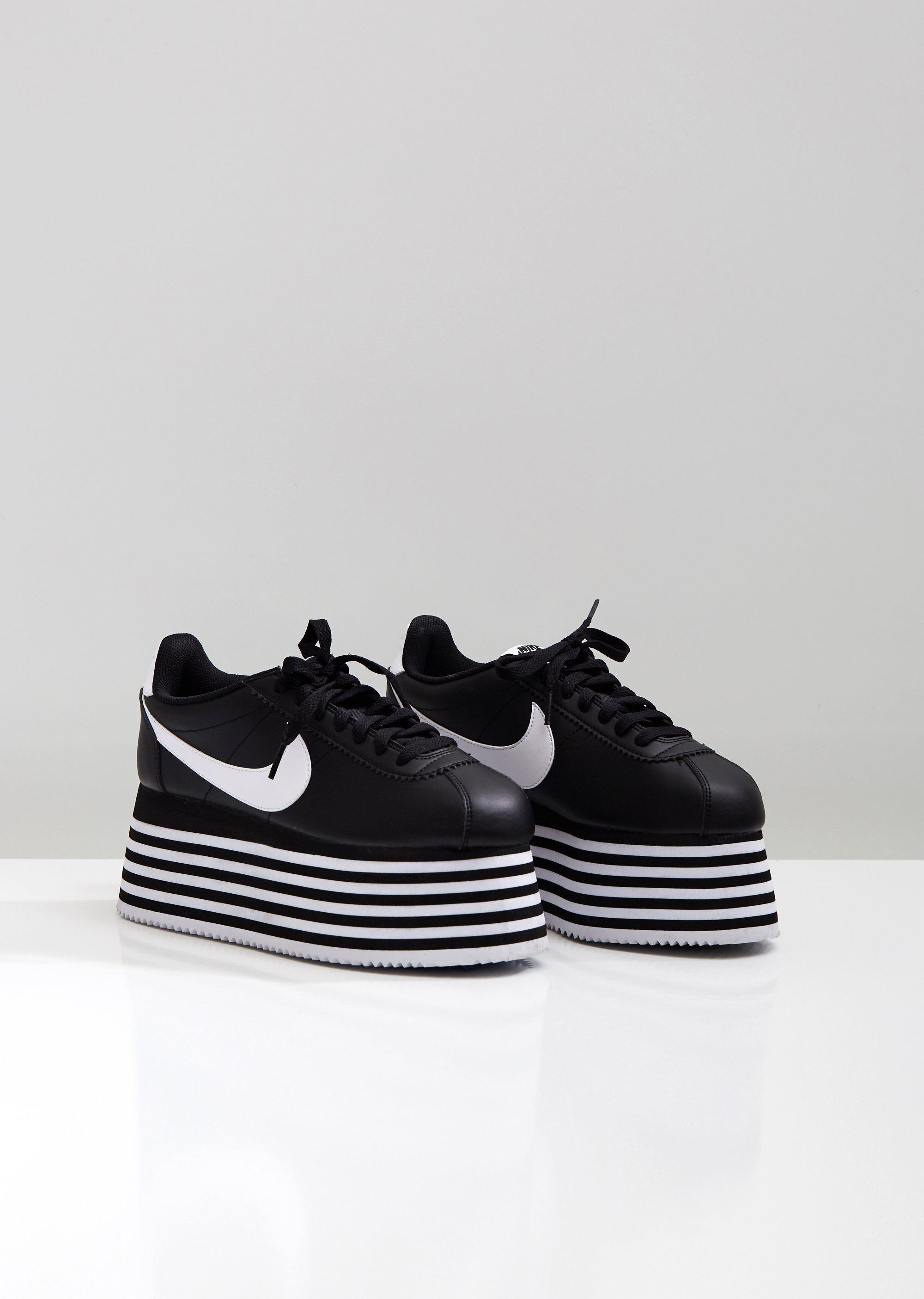f41797c08f4c Comme des Garçons - Black Nike Striped Platform Cortez Sneakers - Lyst.  View fullscreen