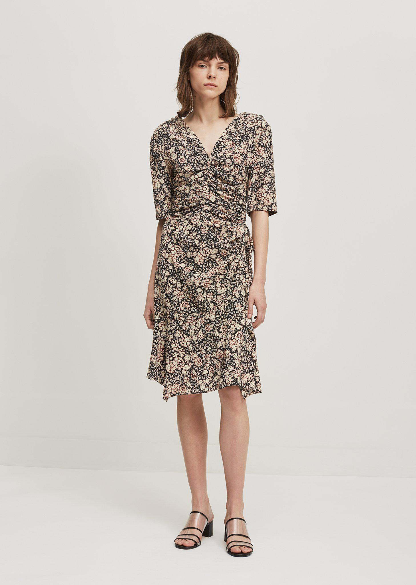 Brodie Silk Floral Print V-Neck Dress - Blue Isabel Marant Discount Clearance Store bHpqAb6T