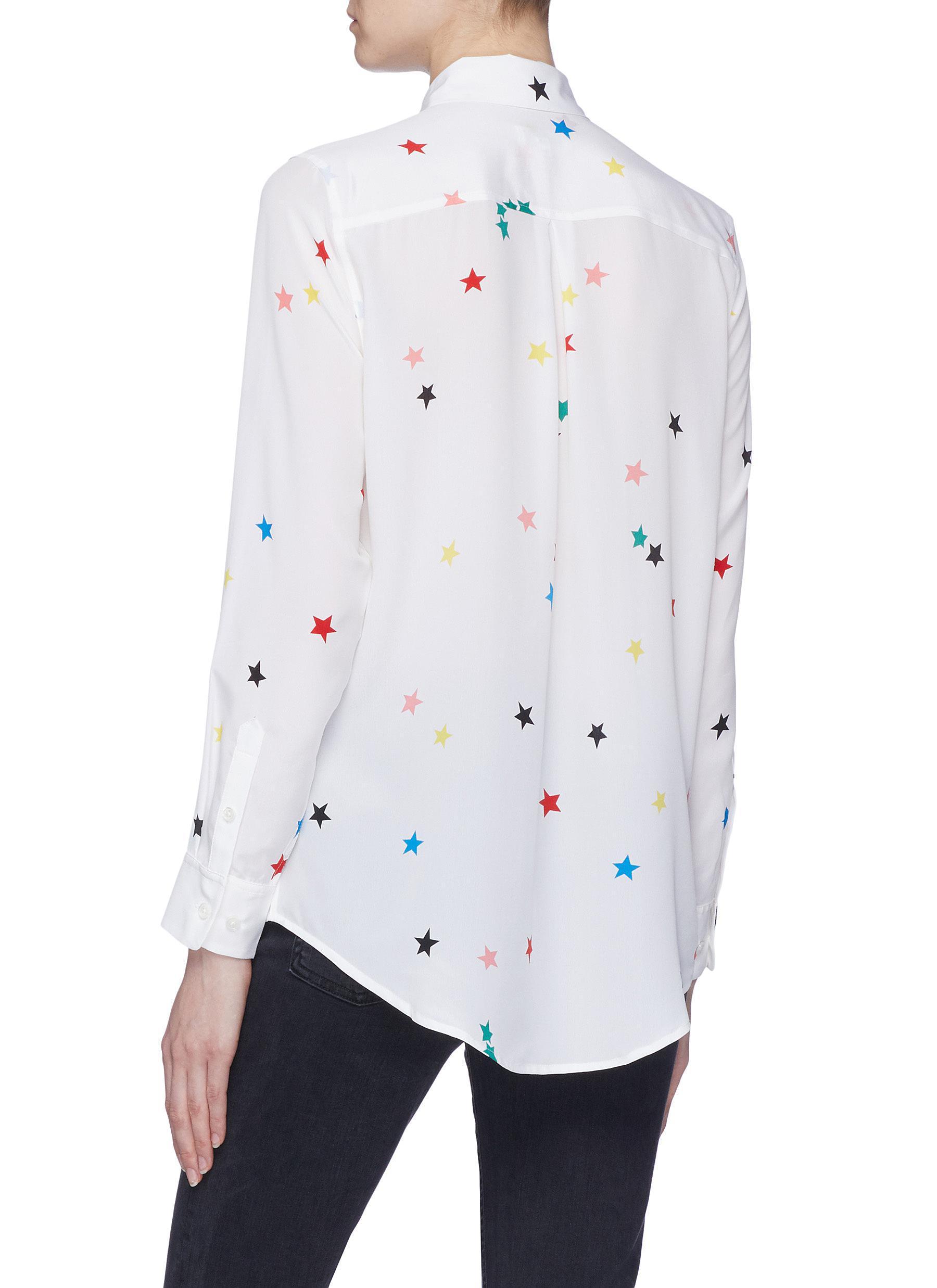 b2f61eed787522 Lyst - Equipment  essential  Star Print Silk Crepe Shirt in White