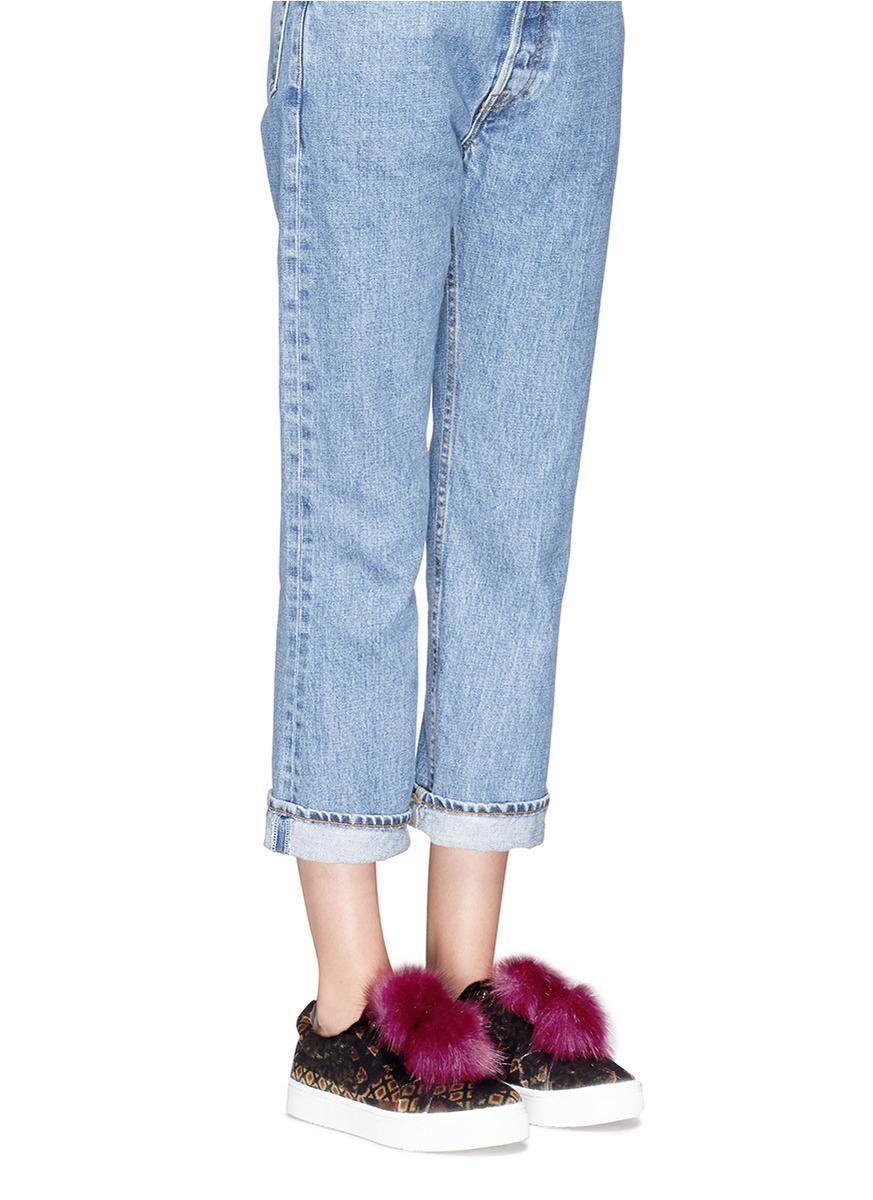 e2794273a Sam Edelman  leya  Pompom Graphic Print Velvet Slip-on Sneakers in ...