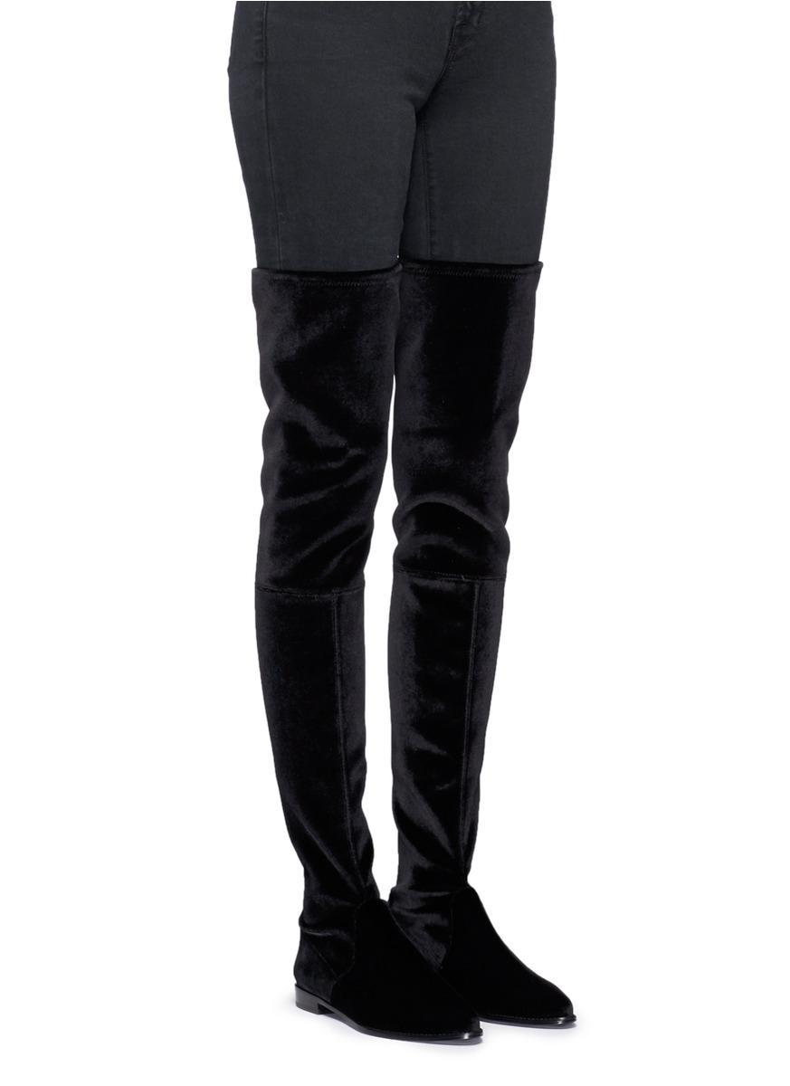 9f6b36aa1ab Stuart Weitzman  leggy Lady  Velvet Thigh High Boots in Black - Lyst