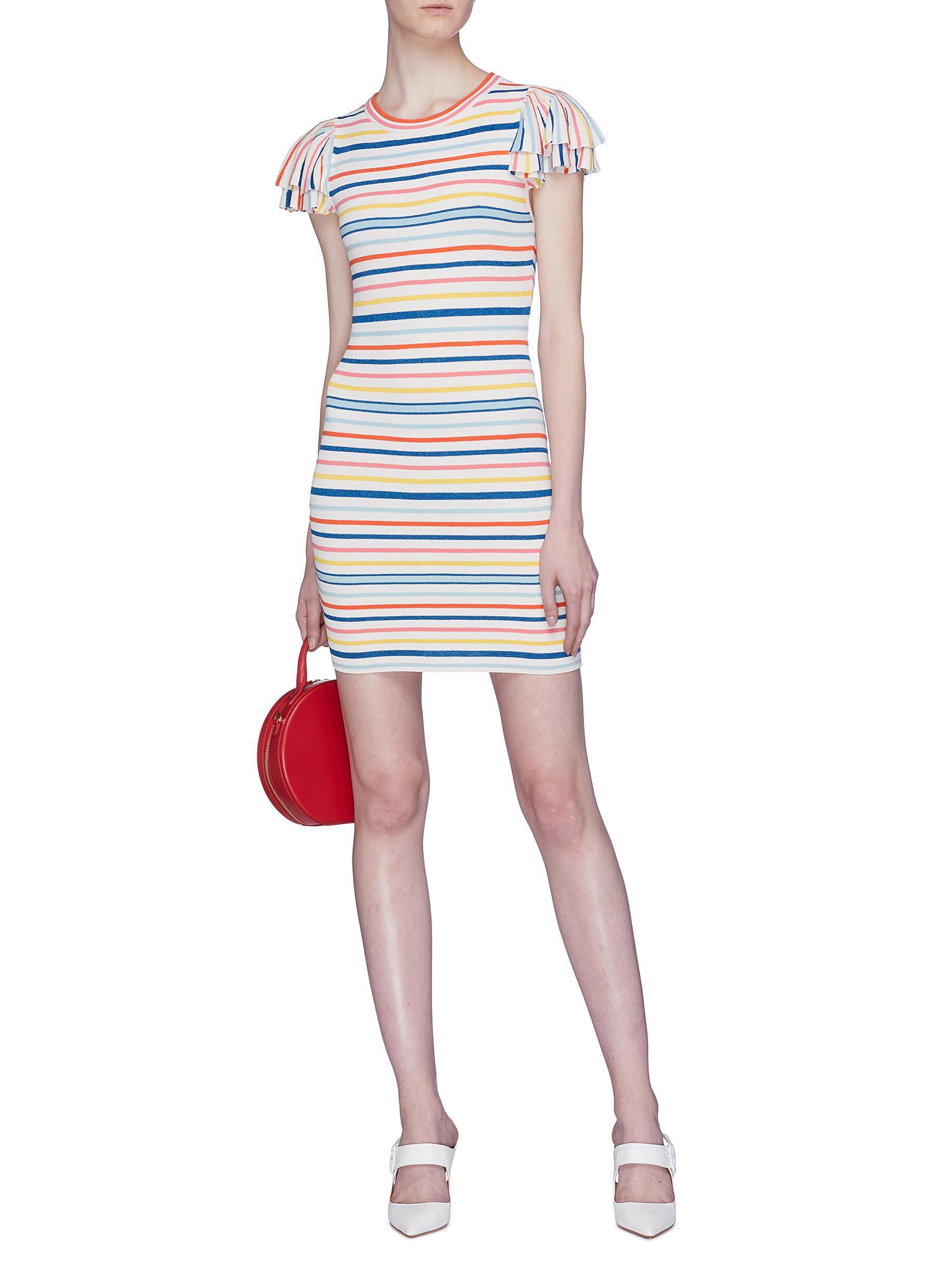 864fda791ef Alice + Olivia  kellin  Ruffle Sleeve Stripe Knit Mini Dress in Blue ...