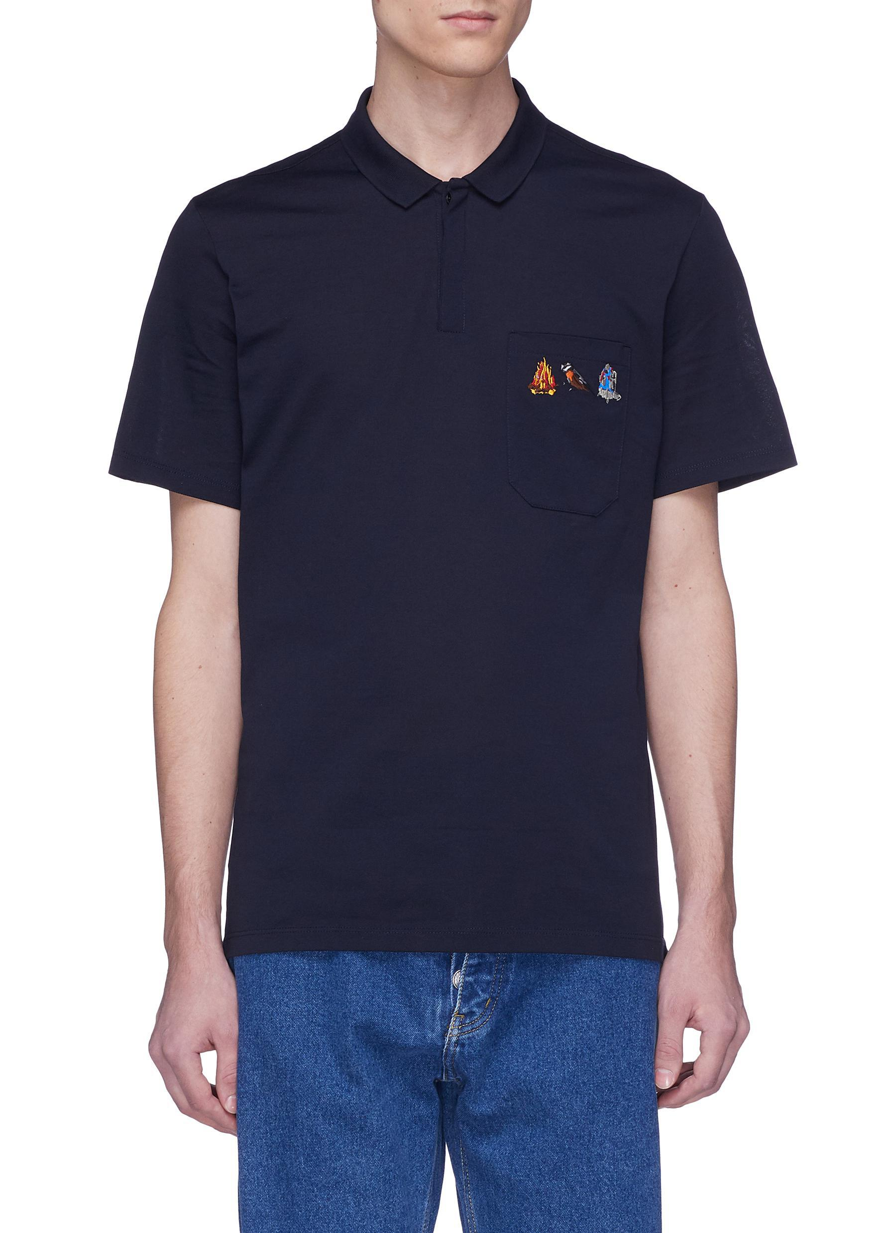 7f0ba7948 Lanvin Mix Graphic Embroidered Polo Shirt in Blue for Men - Lyst