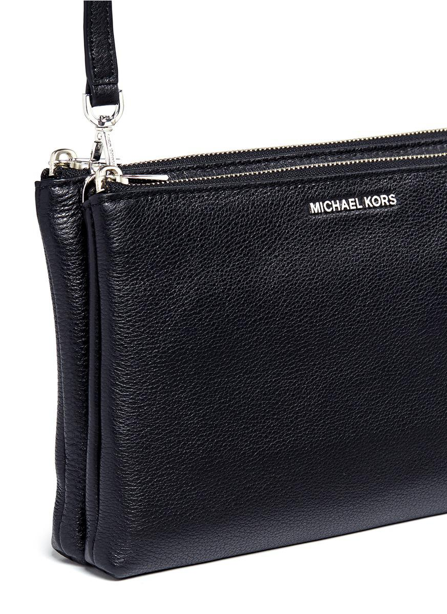 a6c512592e494 Lyst - Michael Kors  adele  Double Zip Leather Crossbody Bag in Black