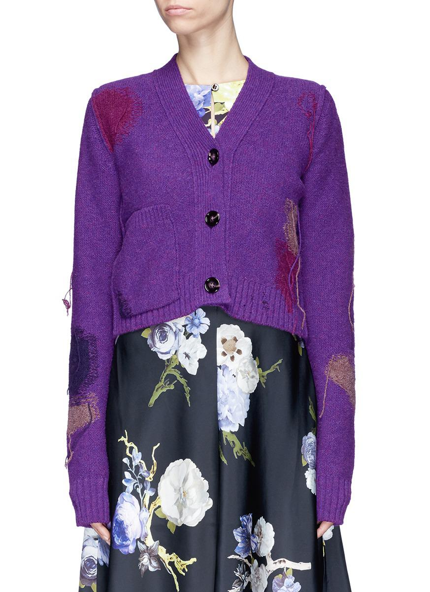 Acne 'lysa' Fringe Intarsia Patch Cropped Wool Cardigan in Purple ...