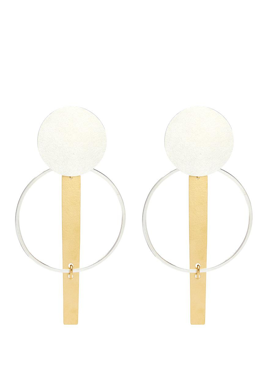 Annie Costello Brown long split circle earrings - Metallic ZLitcr1