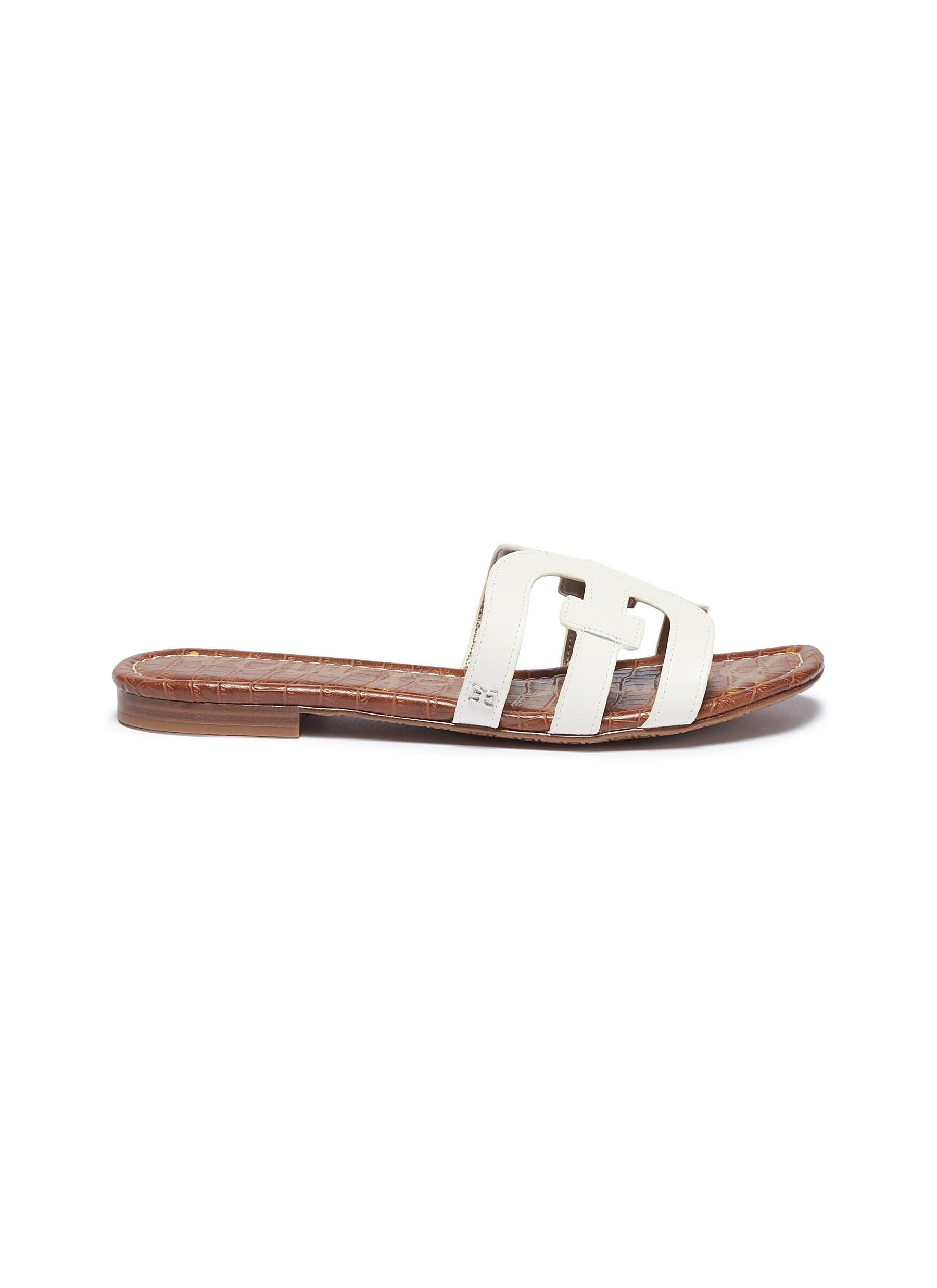 2300a26f9 Sam Edelman  bay  Leather Slide Sandals in White - Lyst