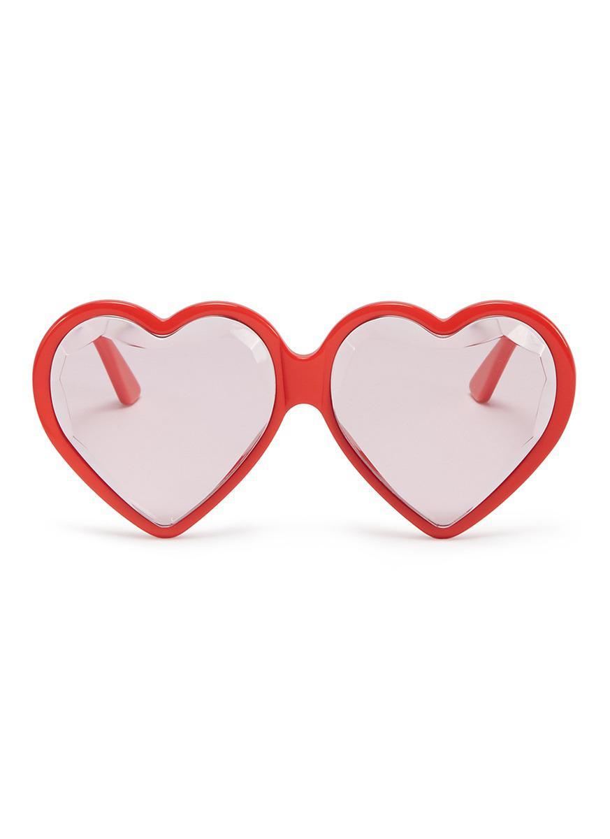 f9146688cd77c Gucci Heart Frame Acetate Sunglasses in Red - Lyst