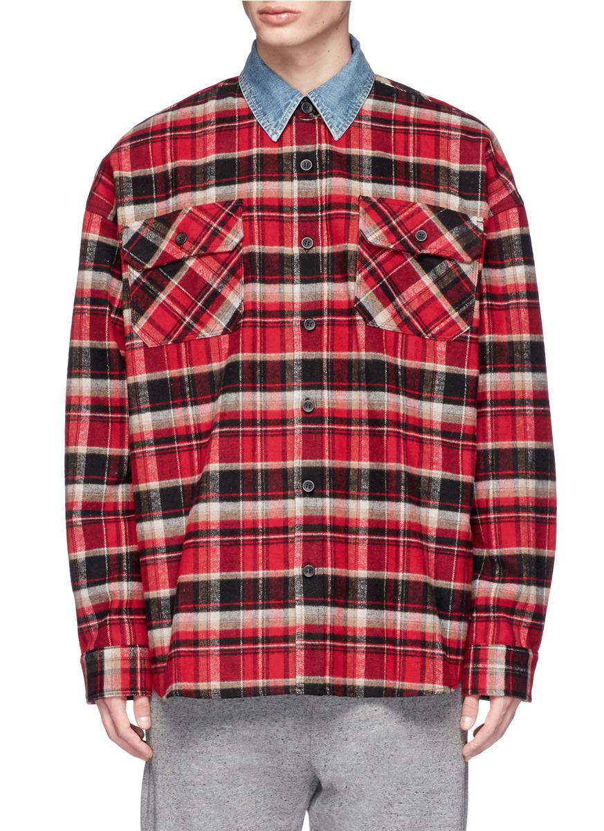 Fear of god tartan plaid oversized flannel shirt jacket in for Oversized red plaid shirt