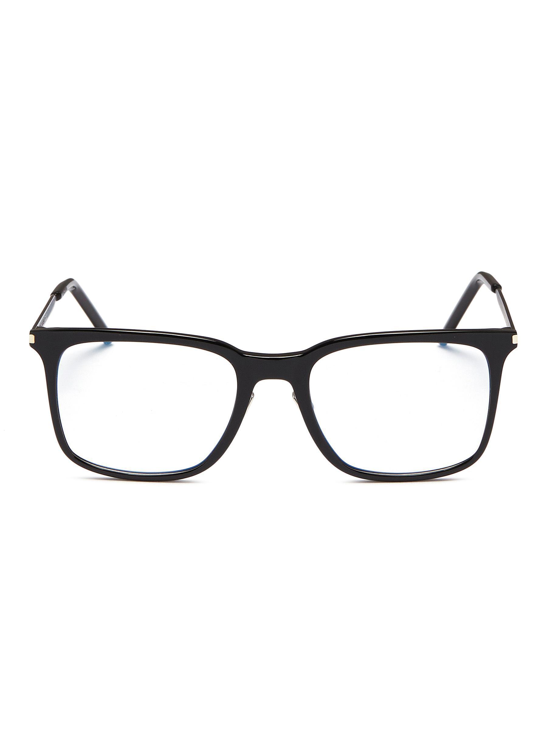 f533848b20 Saint Laurent Metal Temple Acetate Square Optical Glasses in Black ...
