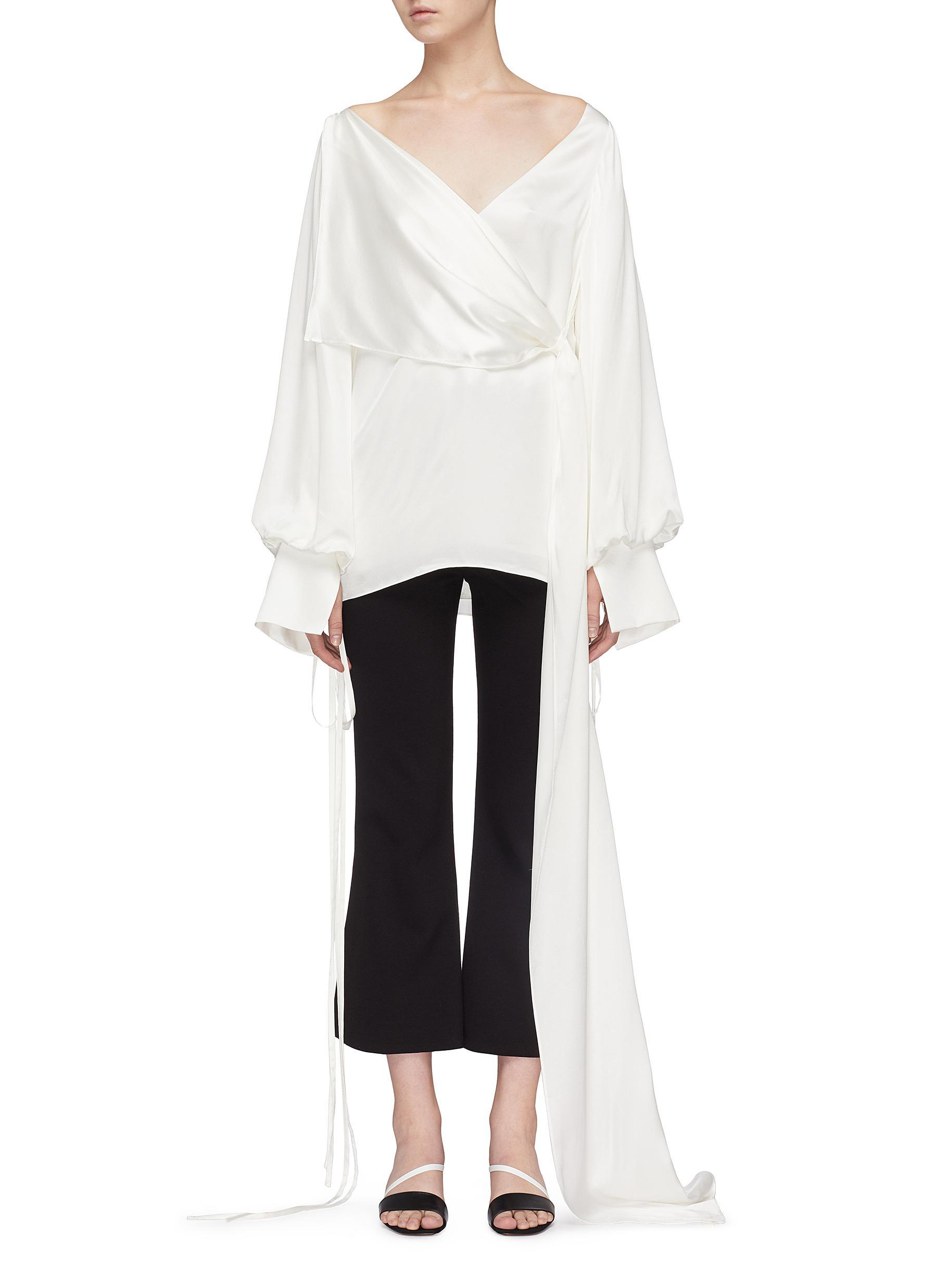 'dorita' In Tie Balloon London Sleeve Top Drape Sash Solace Silk qpSzMUV