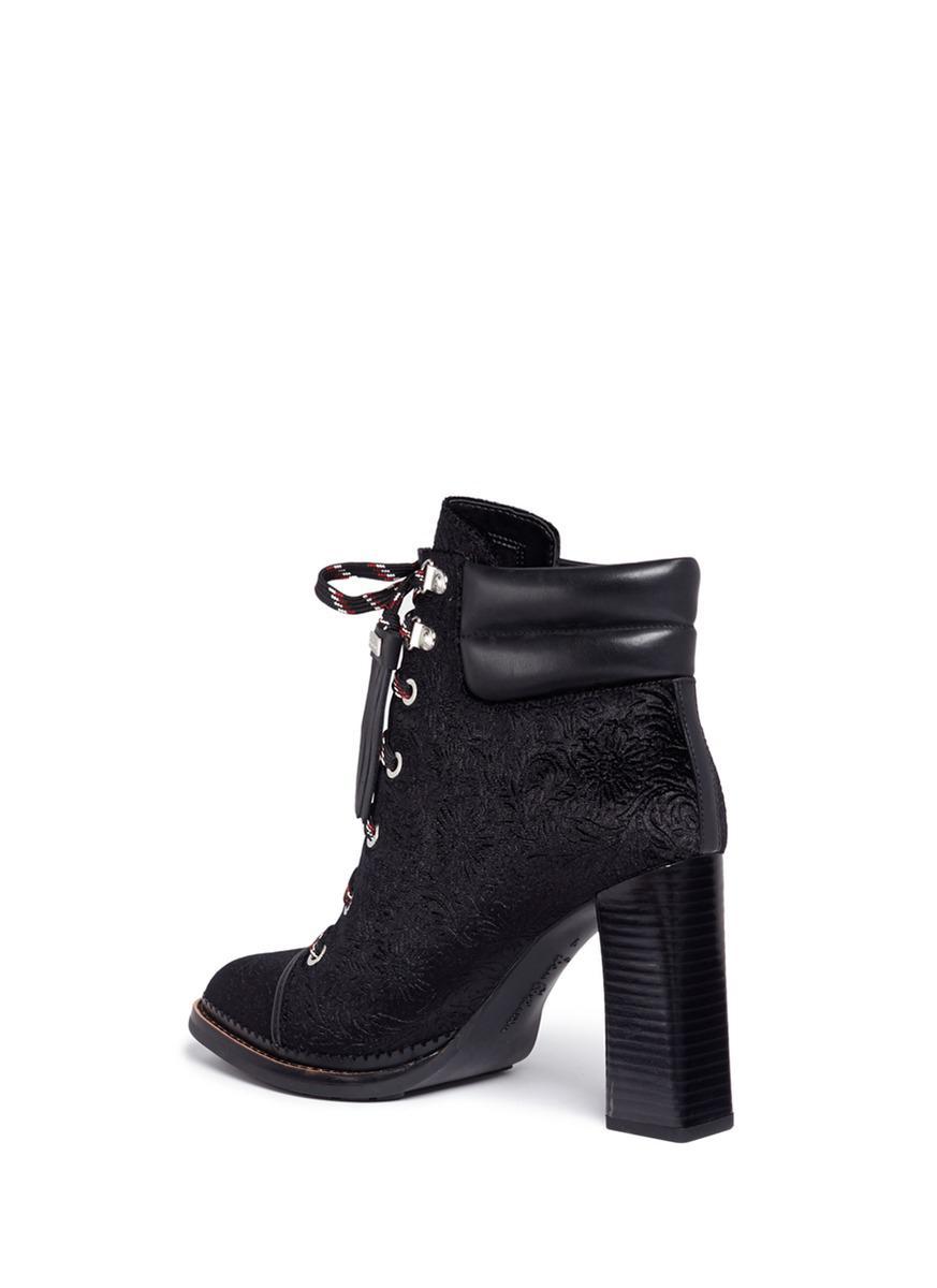 8d15cff3469b1 Lyst - Sam Edelman  sondra  Floral Brocade Lace Up Hiker Boots in Black