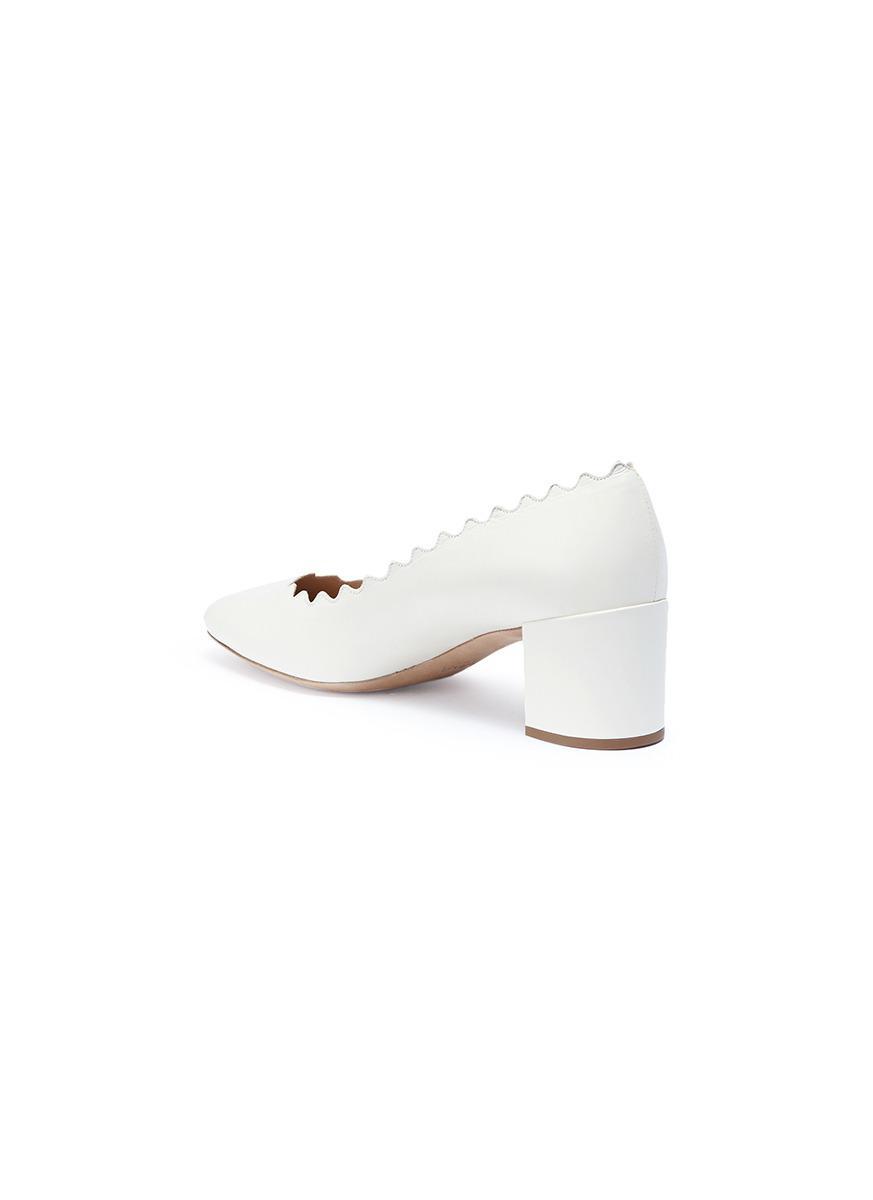c0c5dba63384 Chloé  lauren  Scalloped Nappa Leather Pumps in White - Lyst