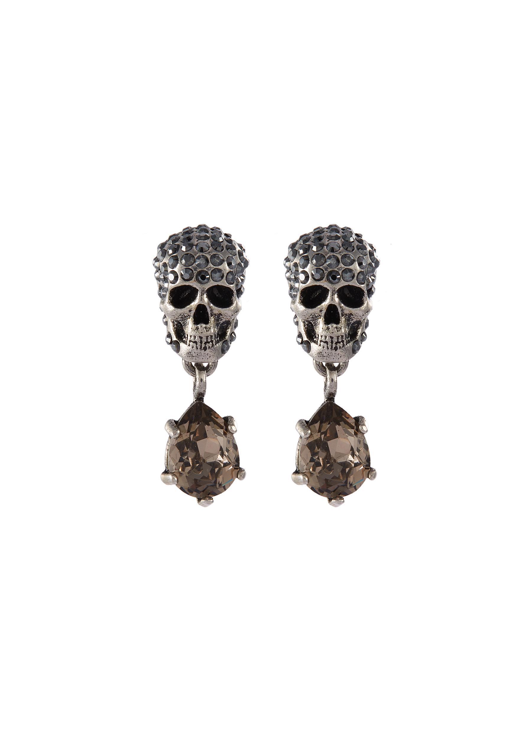 ef9933b41ca4b Alexander McQueen Swarovski Crystal Skull Link Drop Earrings in ...