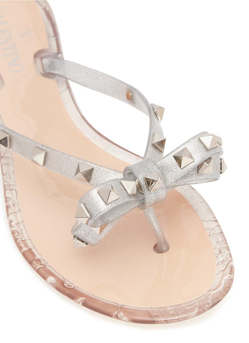 5bdda56c8a633 Lyst - Valentino 'rockstud' Bow Glitter Pvc Flip Flops for Men