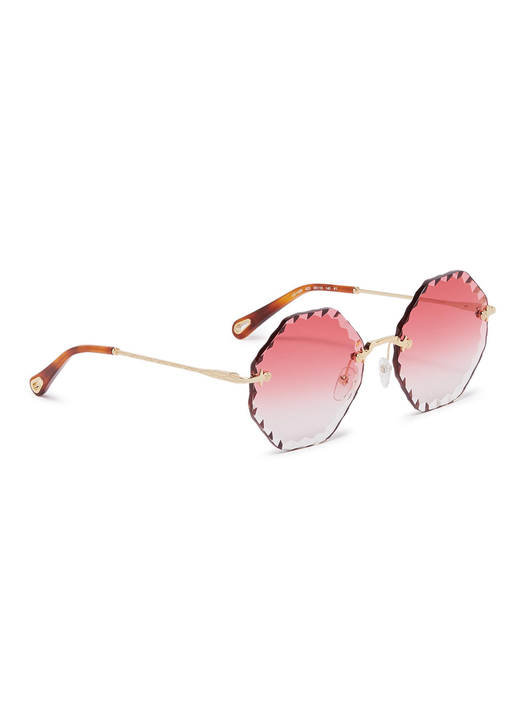 2c868c748d15 Lyst - Chloé 'rosie' Rimless Sunburst Octagon Frame Sunglasses in ...