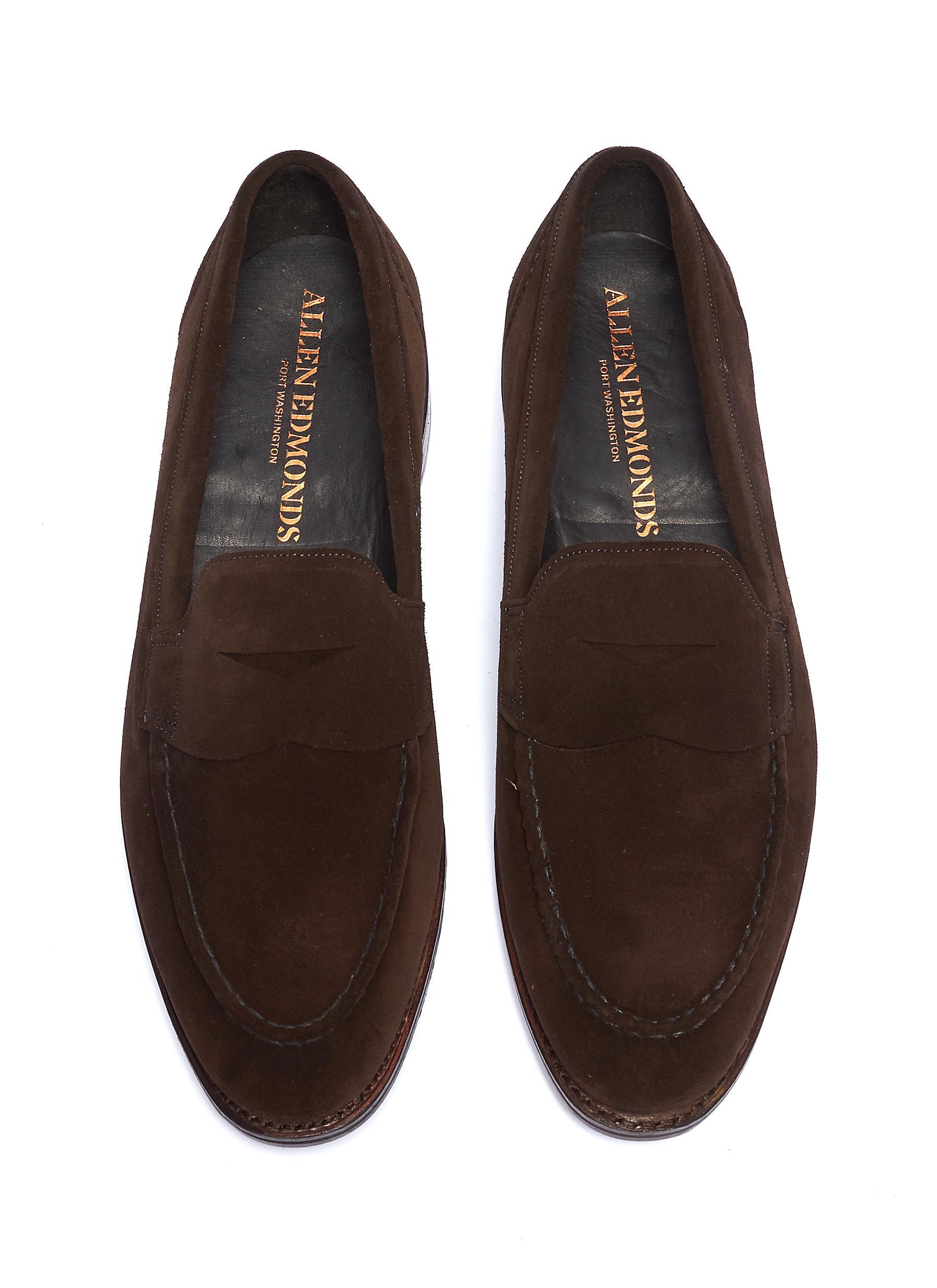 3c9ef7ff60c Allen Edmonds - Brown  mercer Street  Suede Penny Loafers for Men - Lyst.  View fullscreen