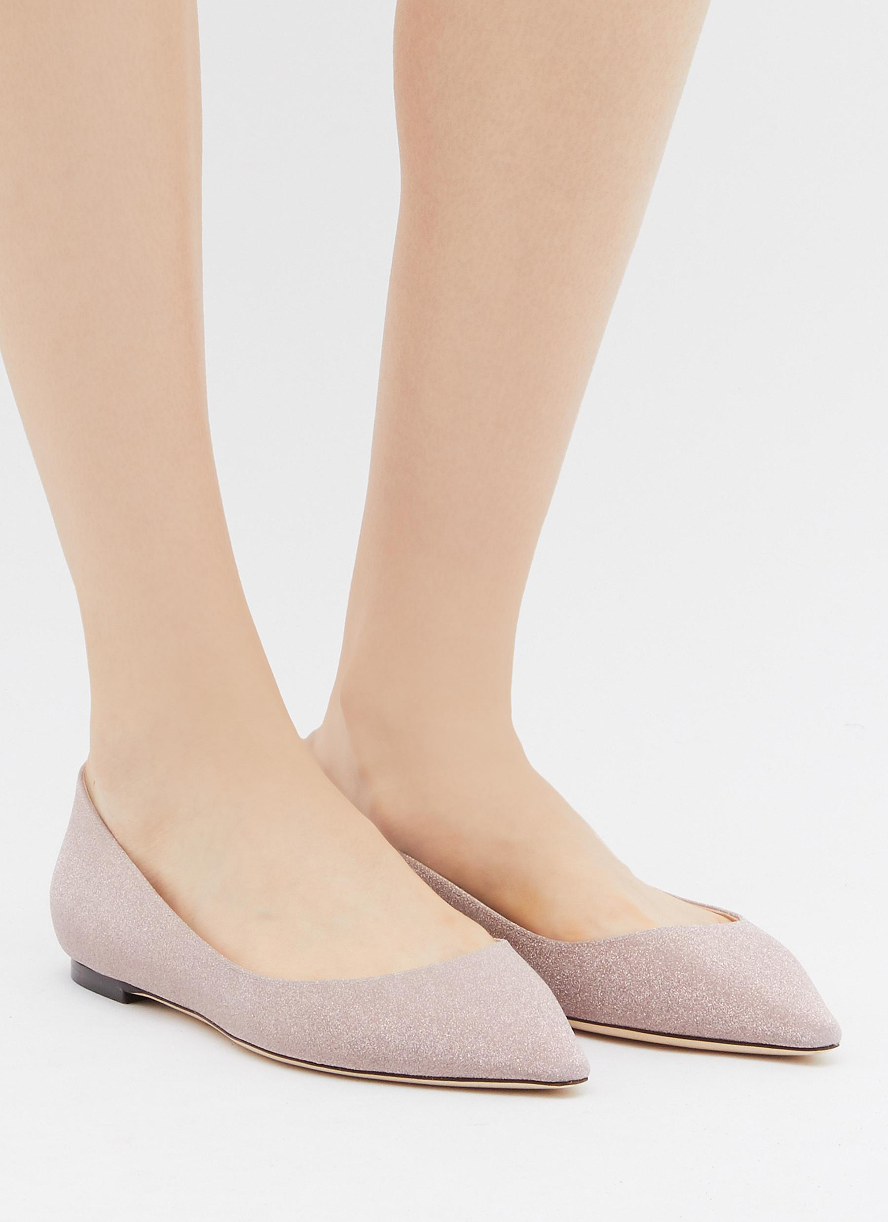 ccde5f3c0f1f Jimmy Choo - Pink Romy Glitter Ballet Flats - Lyst. View fullscreen