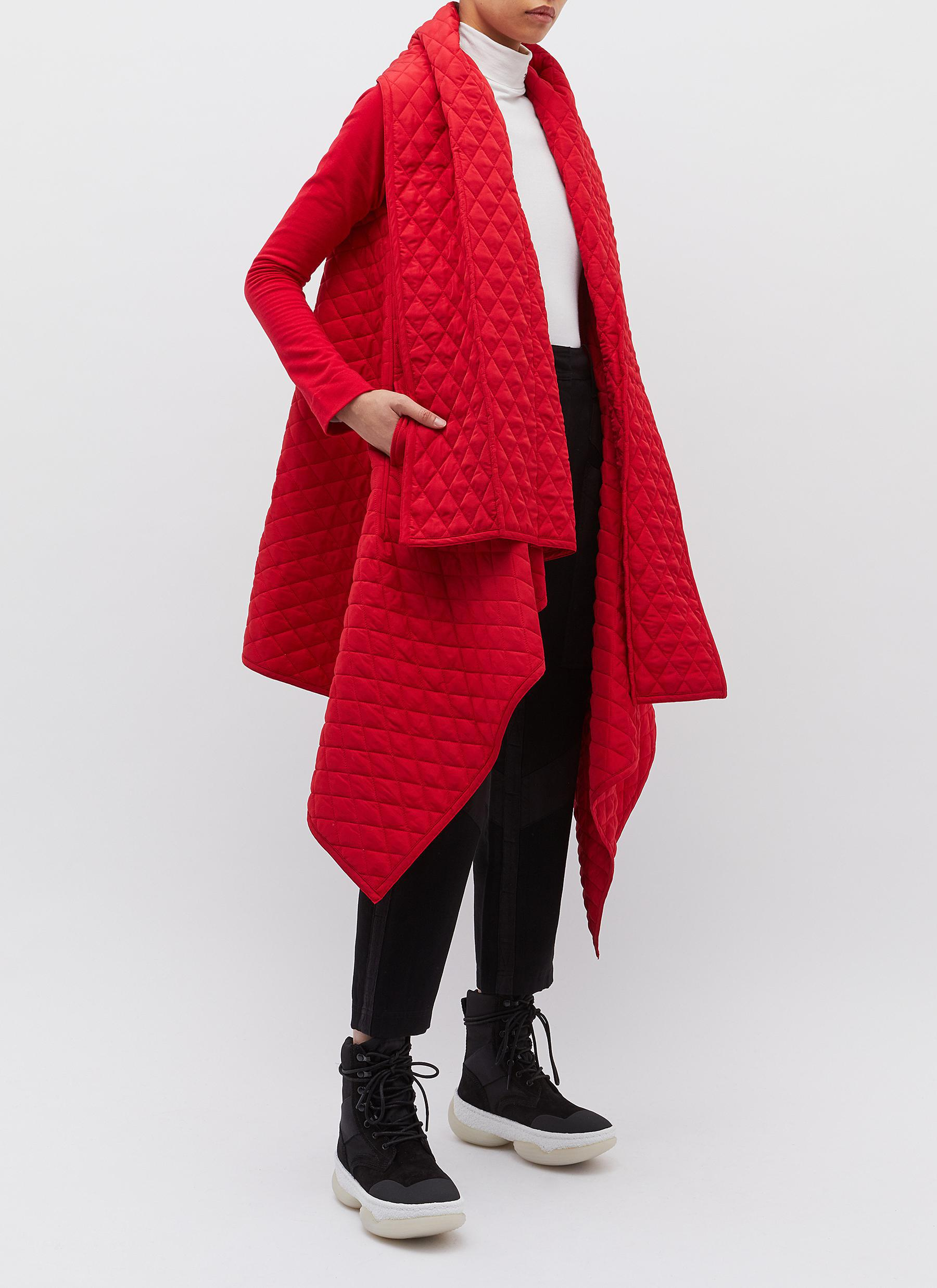 Norma Kamali - Red Belted Drape Quilted Blanket Coat - Lyst. View fullscreen c3a8c0f4e