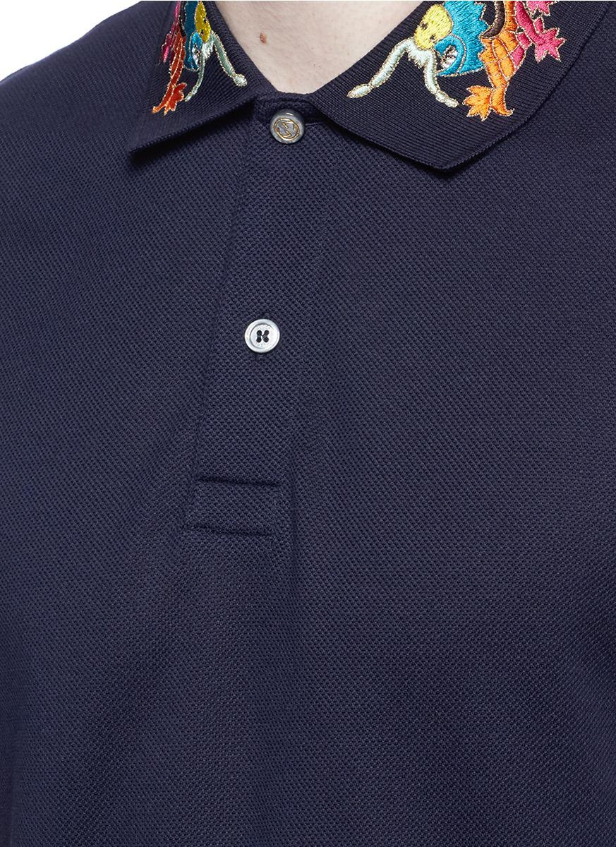 d15189840 Gucci Dragon Embroidered Piqué Polo Shirt in Blue for Men - Lyst