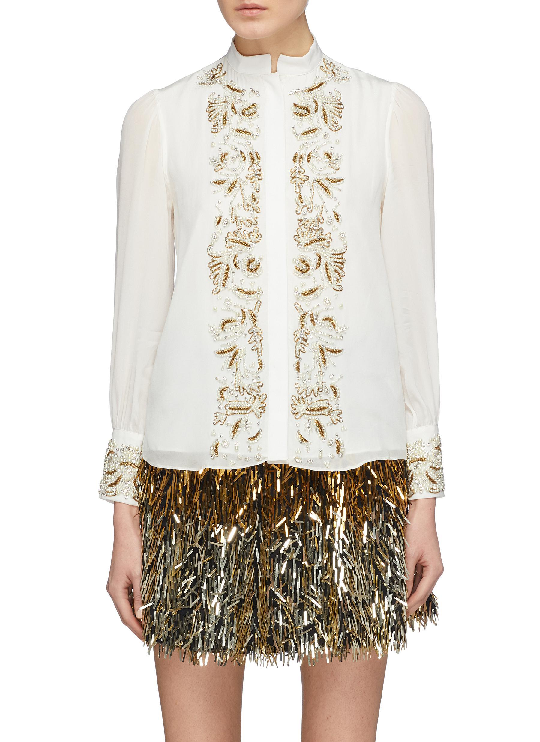 dc006436173496 Alice + Olivia 'zita' Pleated Sleeve Graphic Embellished Blouse in ...