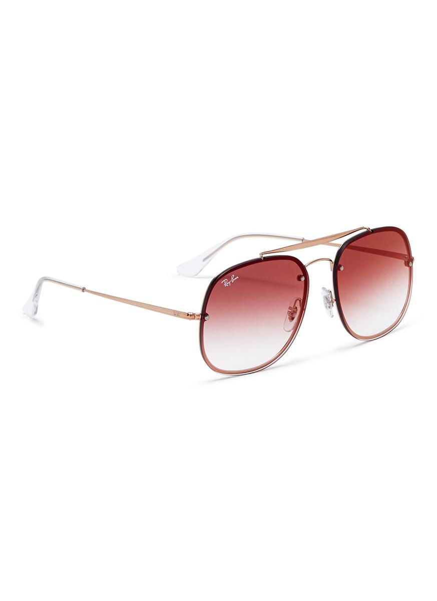 1fa32b785a Lyst - Ray-Ban  blaze The General  Metal Mirror Aviator Sunglasses ...