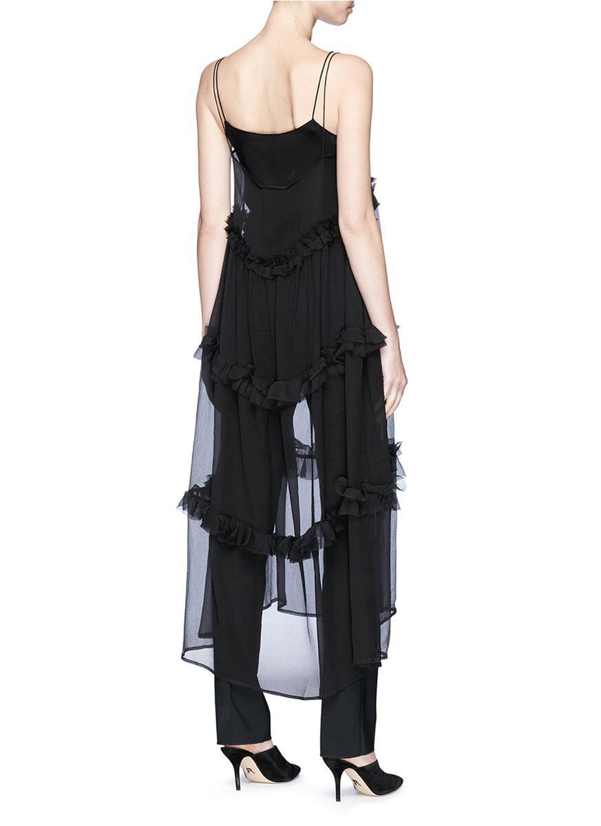 Fairytale Ruffled Crinkled Silk-chiffon Maxi Dress - Black Georgia Alice 3P01qQi