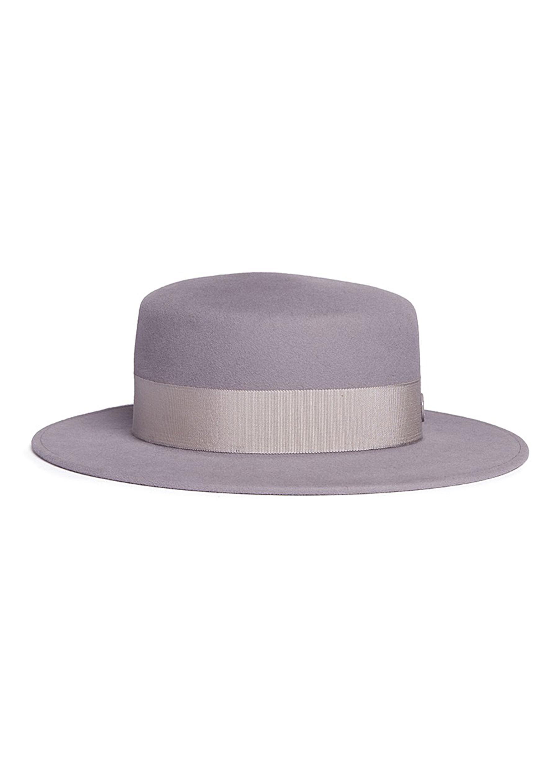 a1738d6c40e Lyst - Maison Michel  kiki  Rabbit Furfelt Canotier Hat in Purple ...