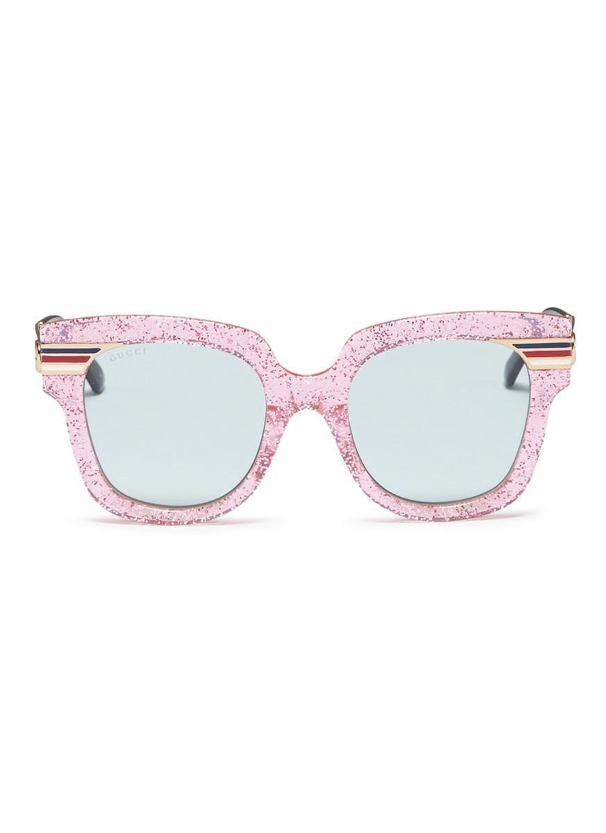 3b06e6d5f Gucci Web Stripe Temple Glitter Acetate Square Sunglasses - Lyst