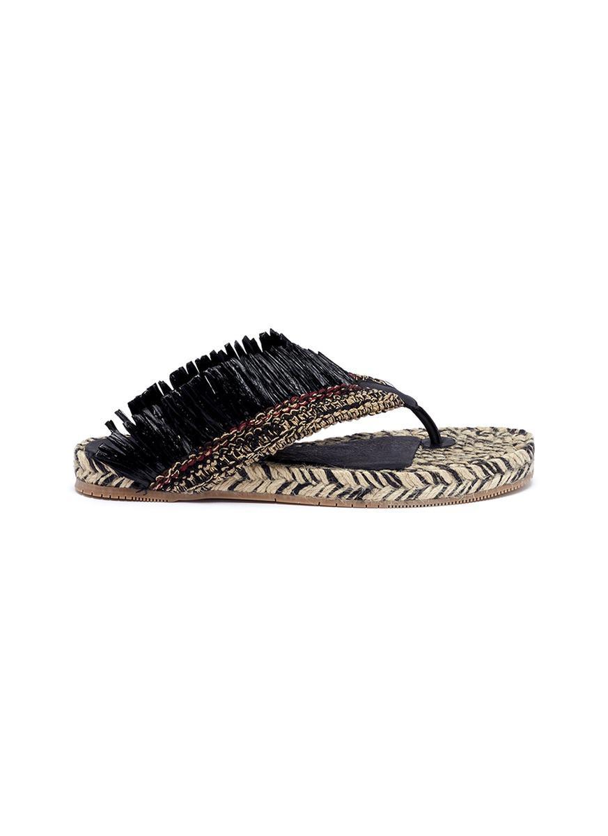 fringed flip flops - Black Paloma Barcel APKyUPYvs