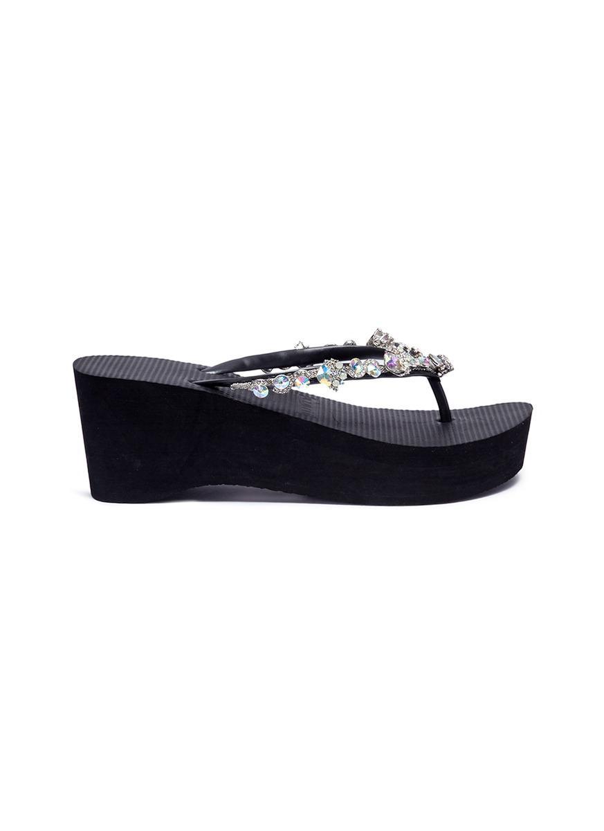 7068fc90d0d1f8 Uzurii  jenny High Heel  Crystal Wedge Thong Sandals in Blue - Lyst