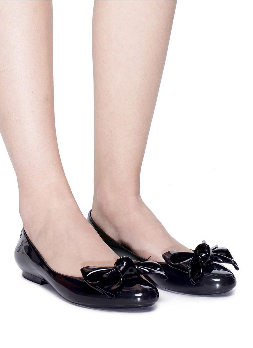 3107403e9824 Lyst - Melissa  doll Fem Ii  Bow Pvc Ballerina Flats in Black