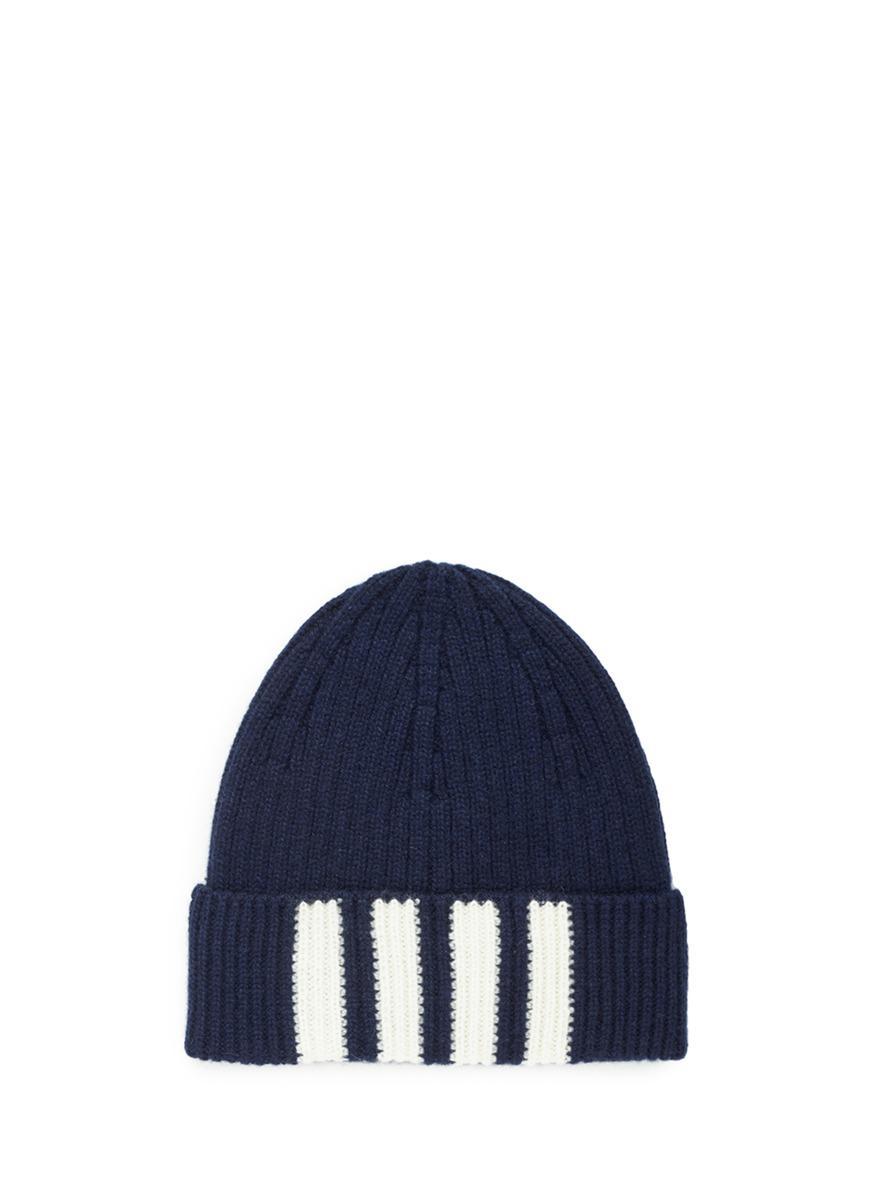 4-Bar Stripe Cashmere Rib Hat - Blue Thom Browne 9nWGSI6