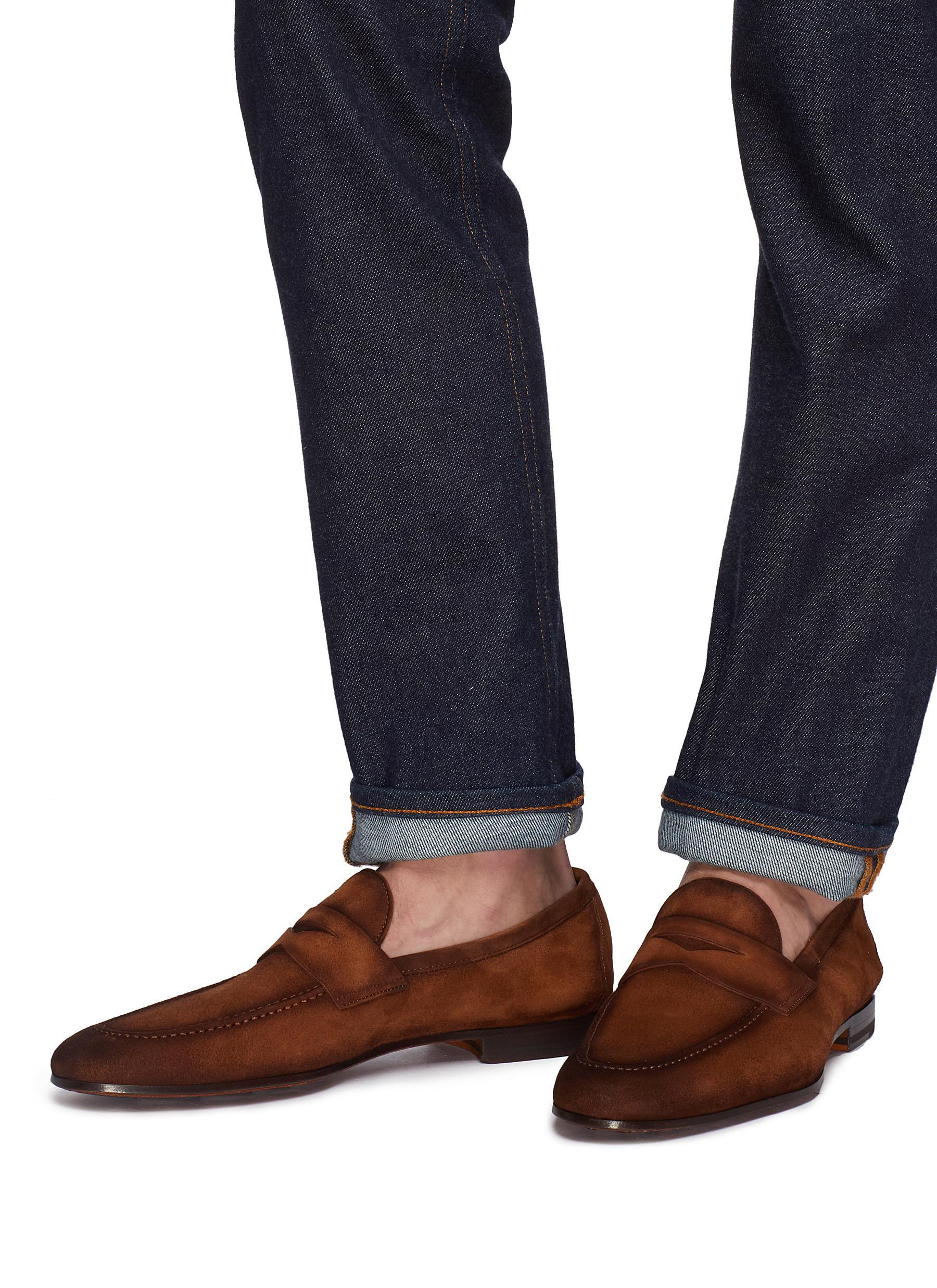 c506cbed57c Magnanni Shoes - Brown Suede Penny Loafers for Men - Lyst. View fullscreen