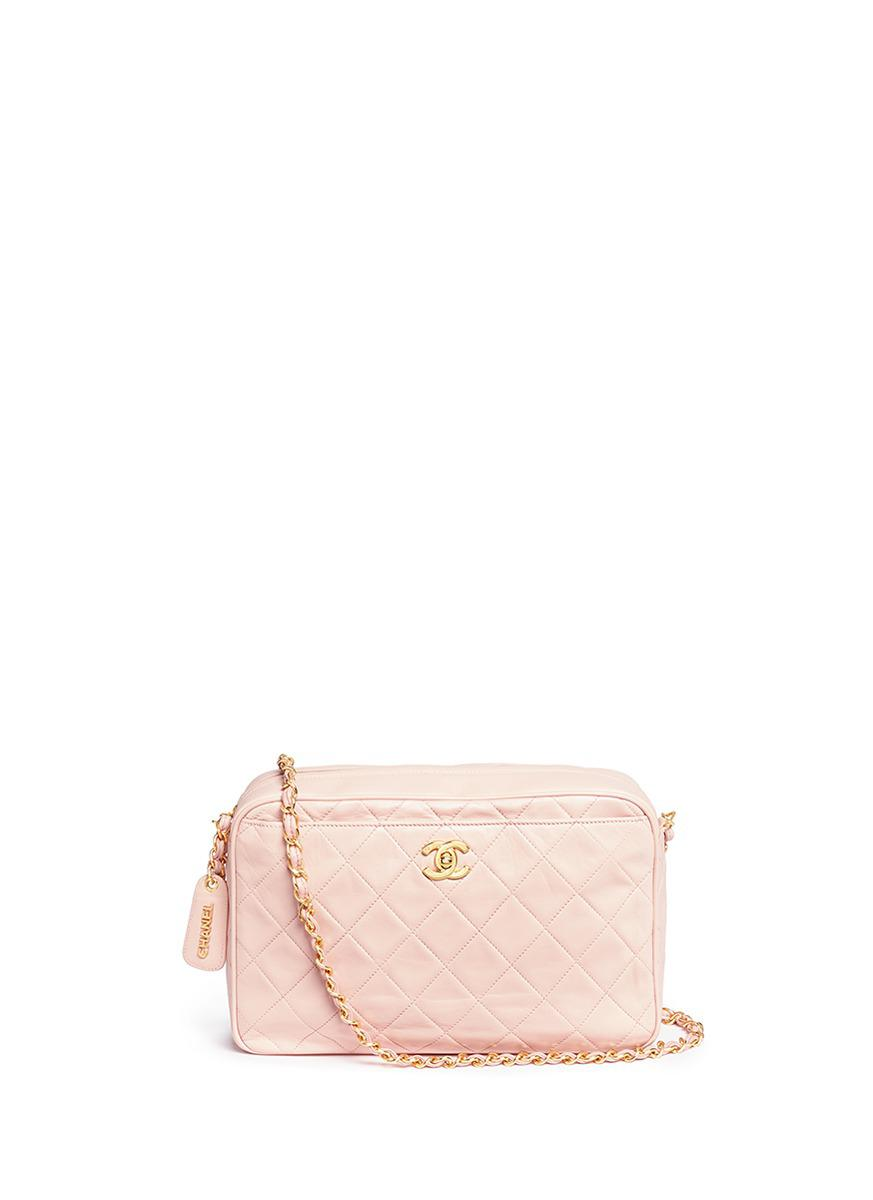 6501cca64e1c Chanel Quilted Leather Camera Bag in Pink - Lyst