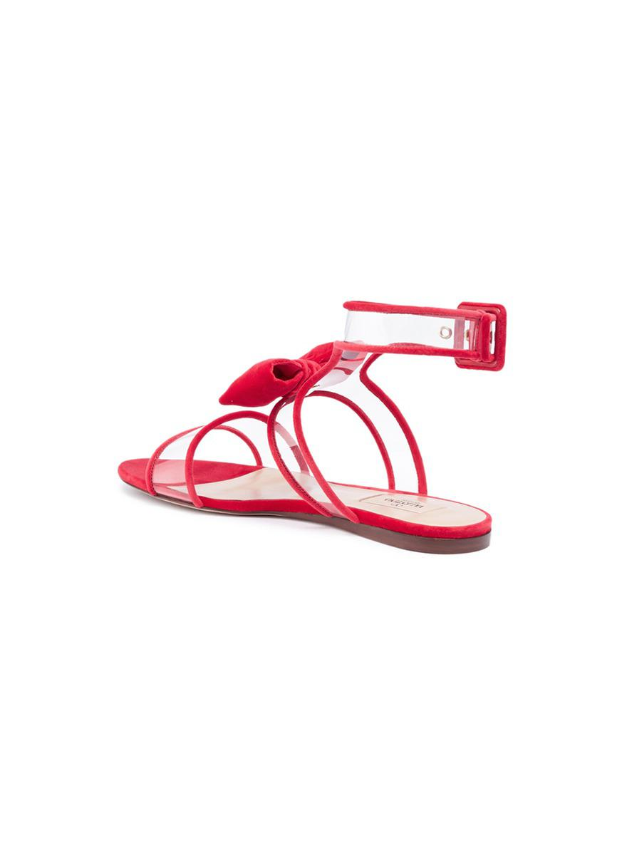 8ed9db34c Lyst - Valentino  dollybow  Velvet Pipe Clear Pvc Sandals in Red