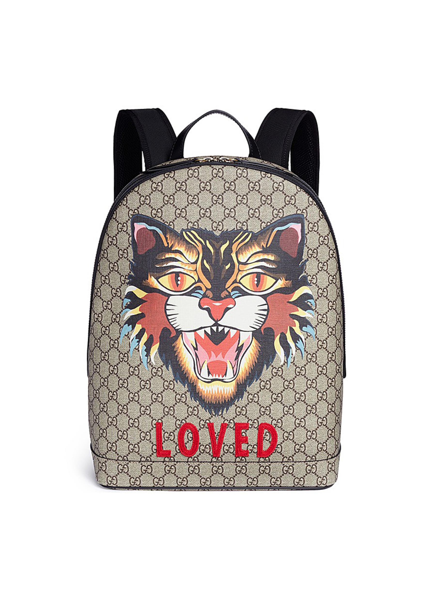 24643b0b650 Lyst - Gucci  loved  Angry Cat Print GG Supreme Canvas Backpack for Men
