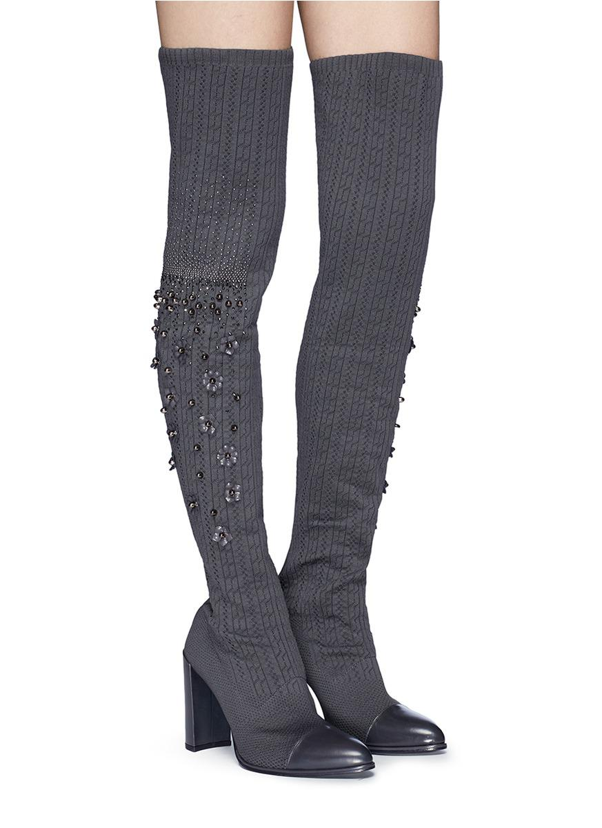 557791f3ee3 Lyst - Stuart Weitzman  long Legs  Floral Stud Thigh High Sock Boots ...