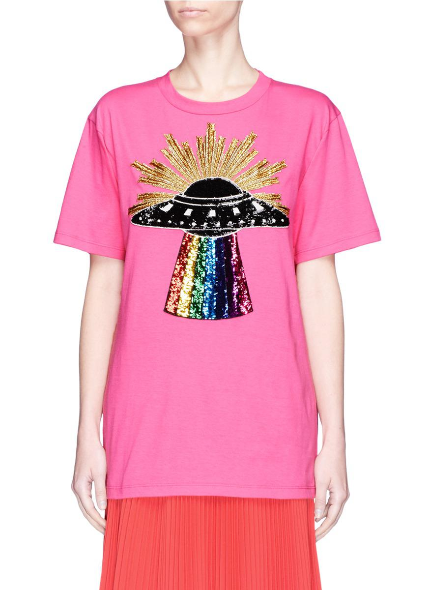 5979494fd Gucci Sequin Ufo Appliqué T-shirt in Pink - Lyst